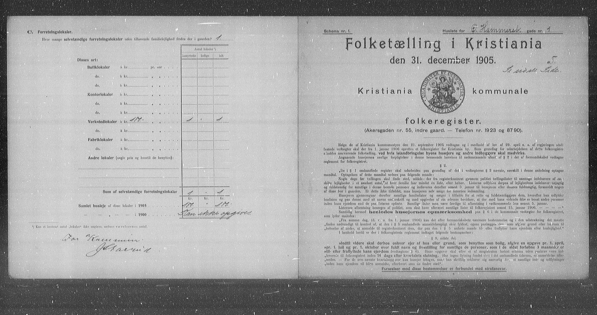OBA, Municipal Census 1905 for Kristiania, 1905, p. 68255