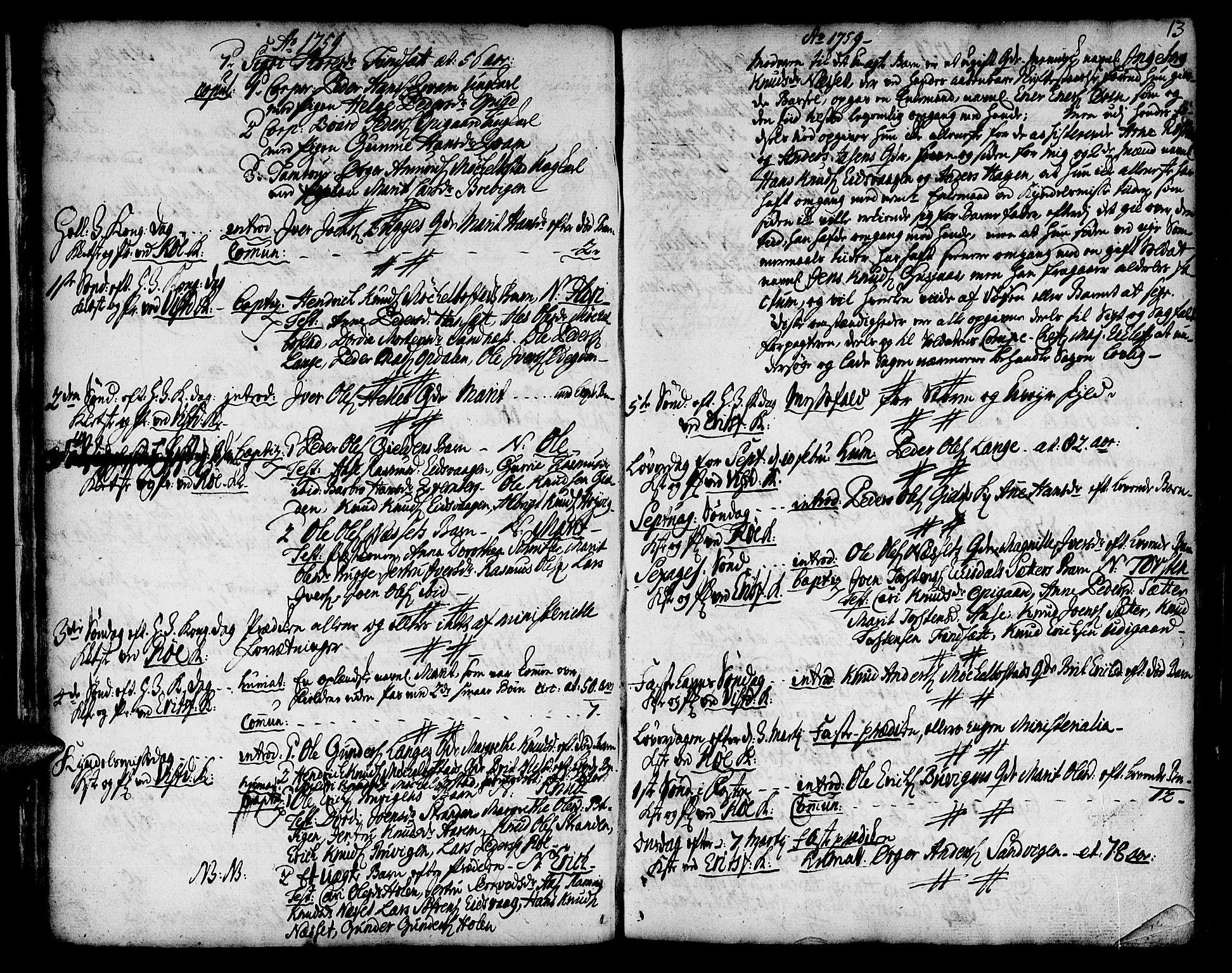 SAT, Ministerialprotokoller, klokkerbøker og fødselsregistre - Møre og Romsdal, 551/L0621: Parish register (official) no. 551A01, 1757-1803, p. 13