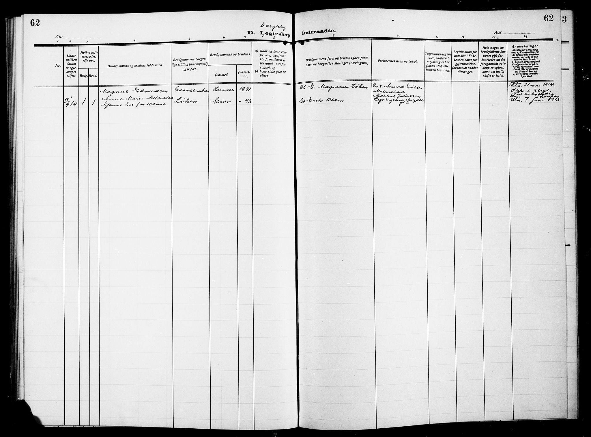 SAH, Gran prestekontor, Parish register (copy) no. 7, 1912-1917, p. 62