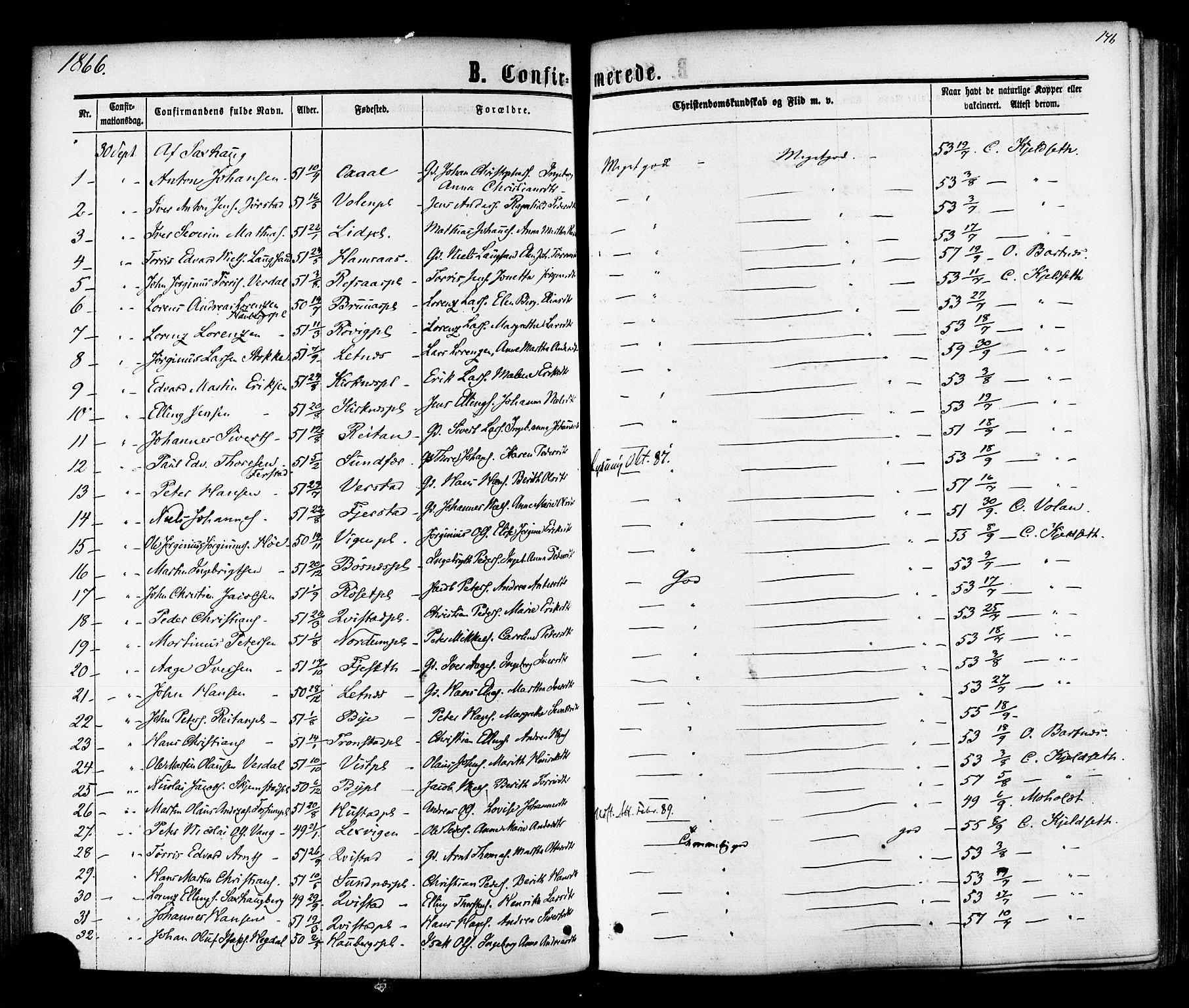SAT, Ministerialprotokoller, klokkerbøker og fødselsregistre - Nord-Trøndelag, 730/L0284: Parish register (official) no. 730A09, 1866-1878, p. 146