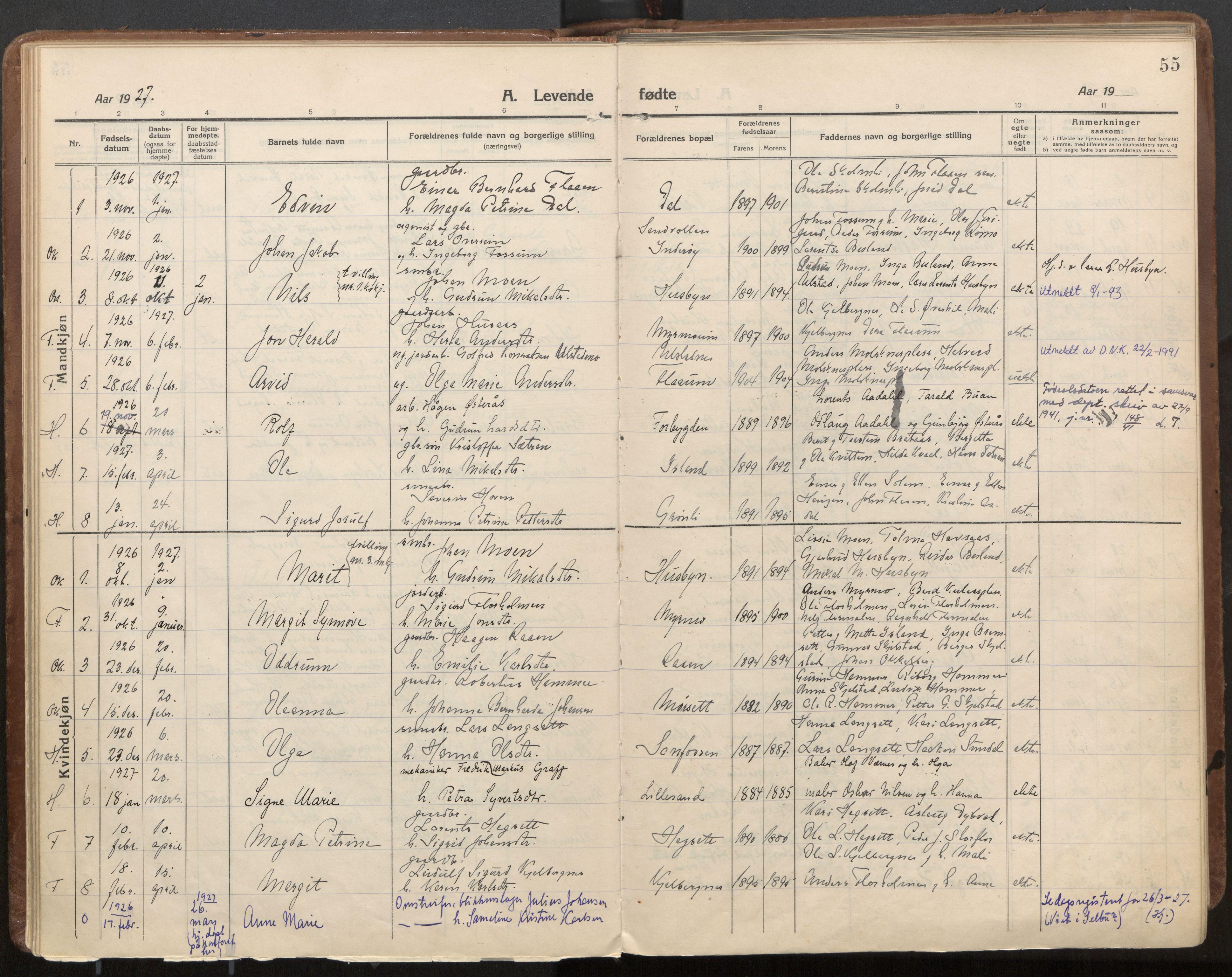 SAT, Ministerialprotokoller, klokkerbøker og fødselsregistre - Nord-Trøndelag, 703/L0037: Parish register (official) no. 703A10, 1915-1932, p. 55