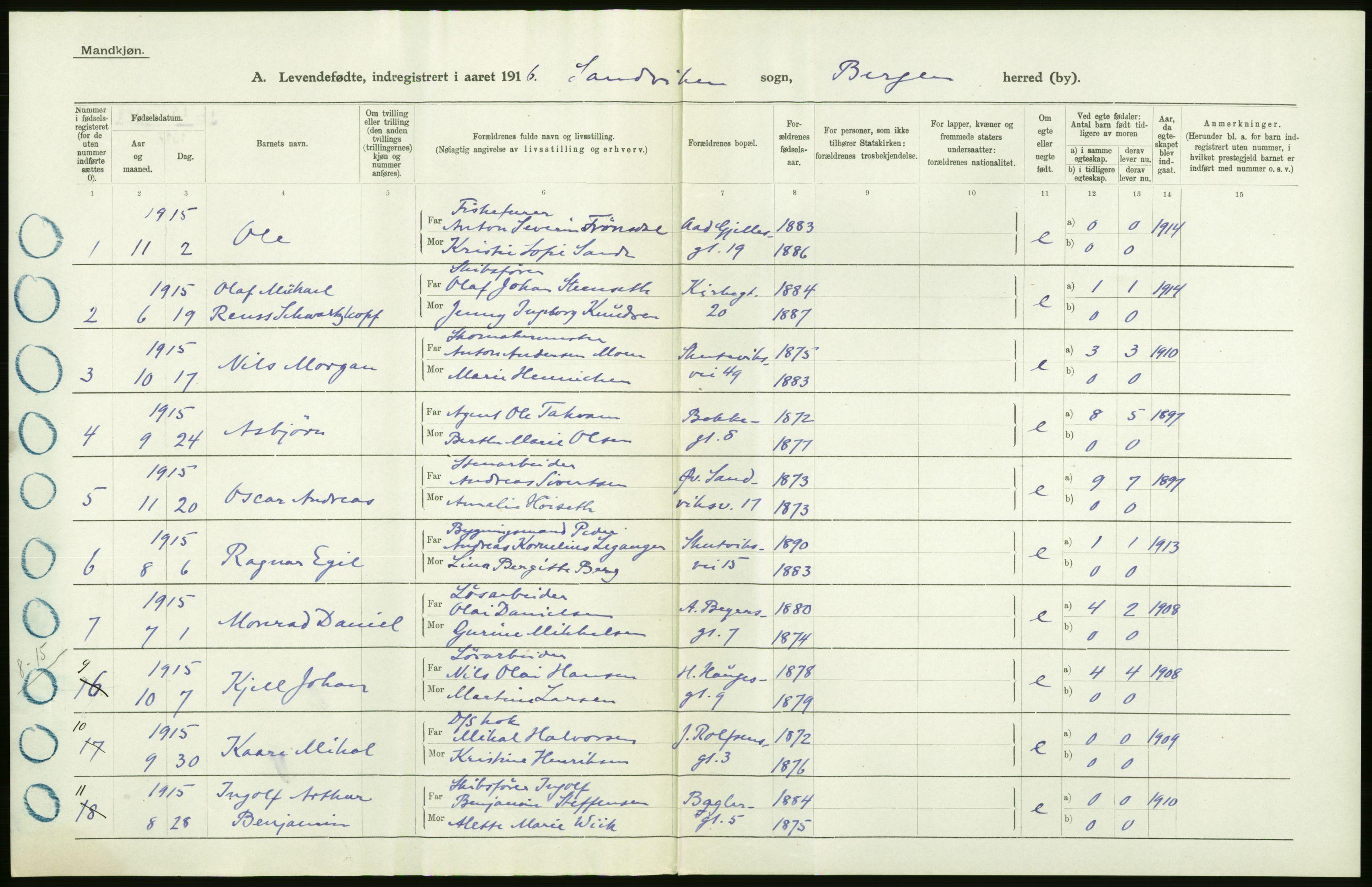RA, Statistisk sentralbyrå, Sosiodemografiske emner, Befolkning, D/Df/Dfb/Dfbf/L0037: Bergen: Levendefødte menn og kvinner., 1916