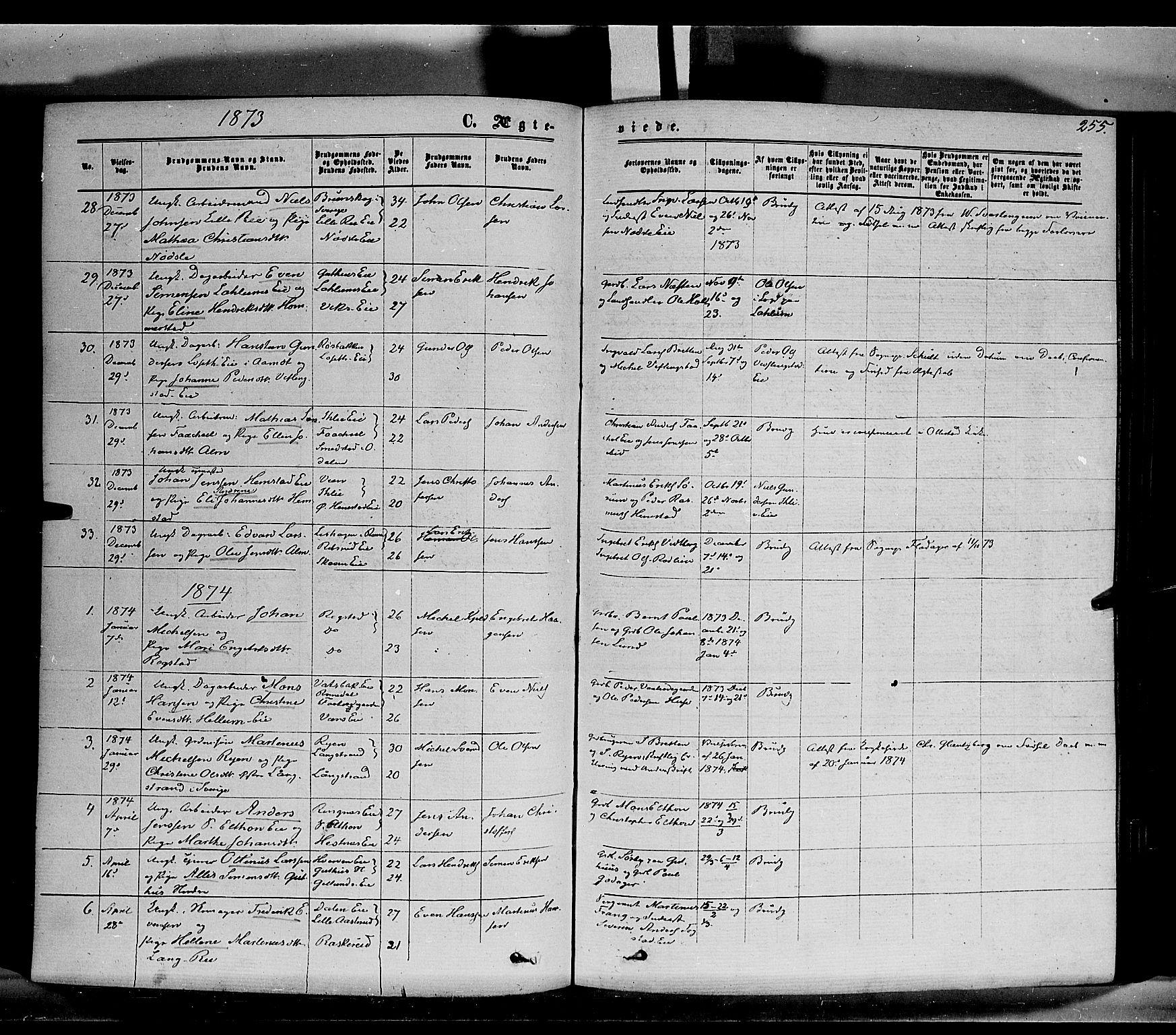 SAH, Stange prestekontor, K/L0013: Parish register (official) no. 13, 1862-1879, p. 255