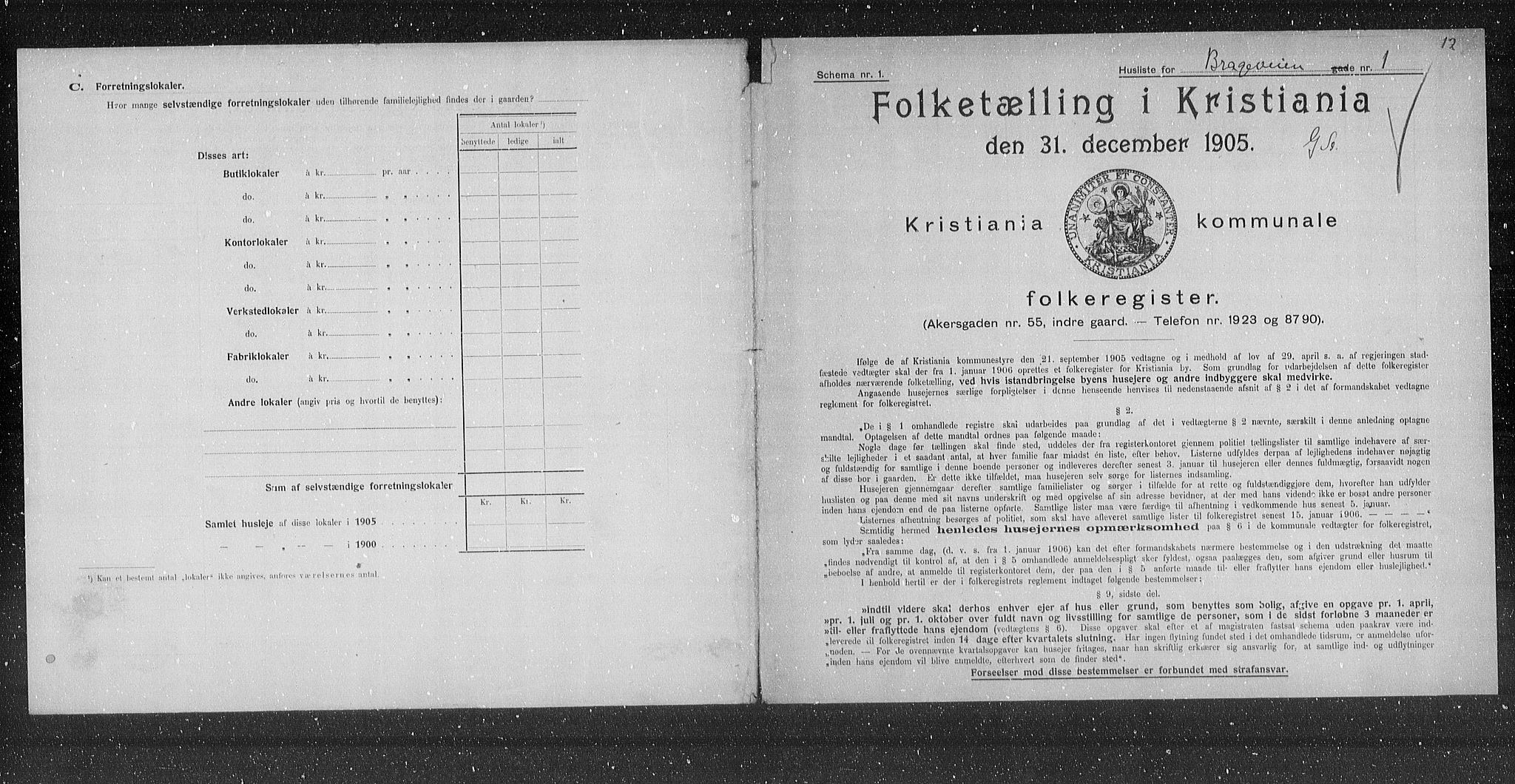 OBA, Municipal Census 1905 for Kristiania, 1905, p. 4092