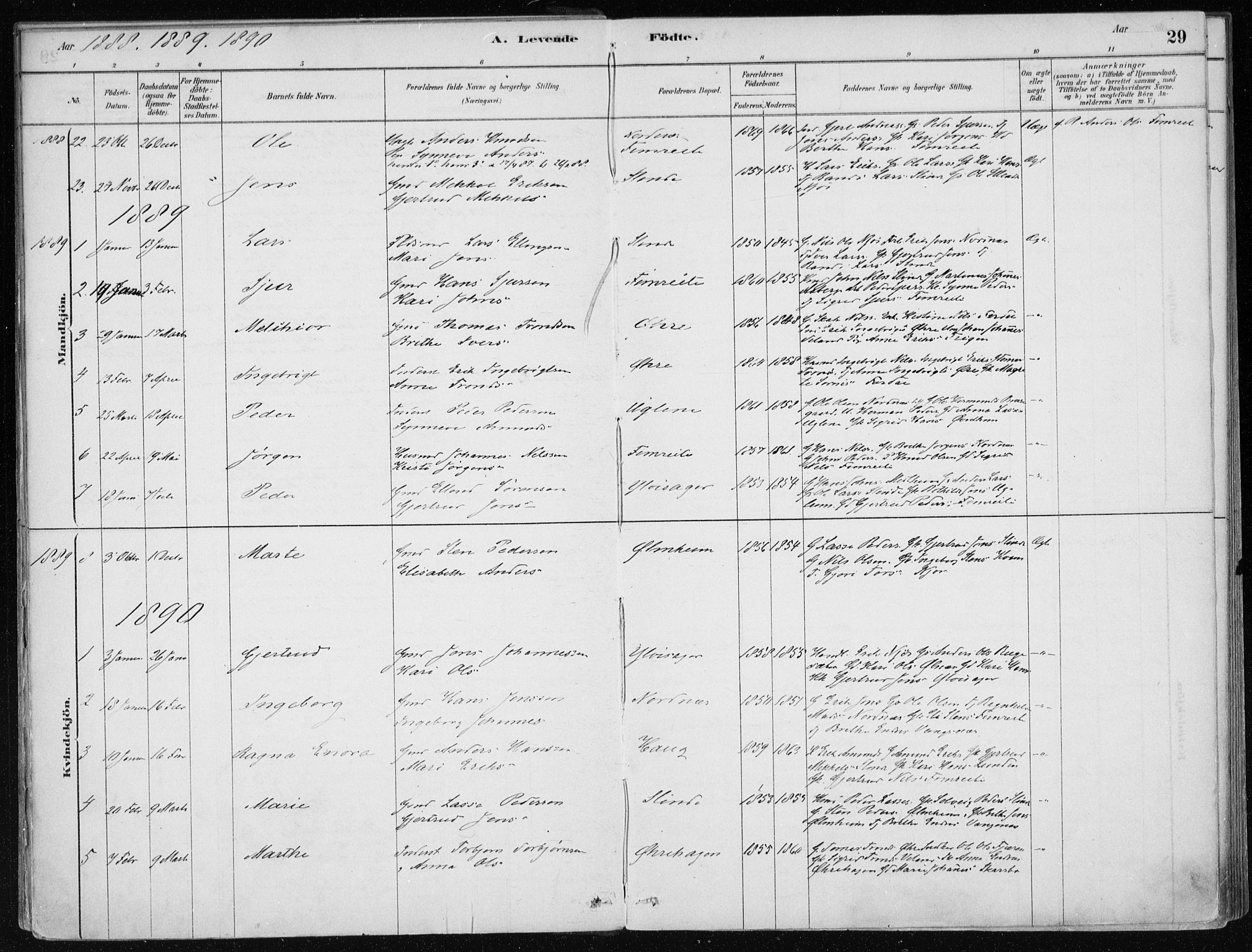 SAB, Sogndal Sokneprestembete, H/Haa/Haac/L0001: Parish register (official) no. C 1, 1878-1907, p. 29