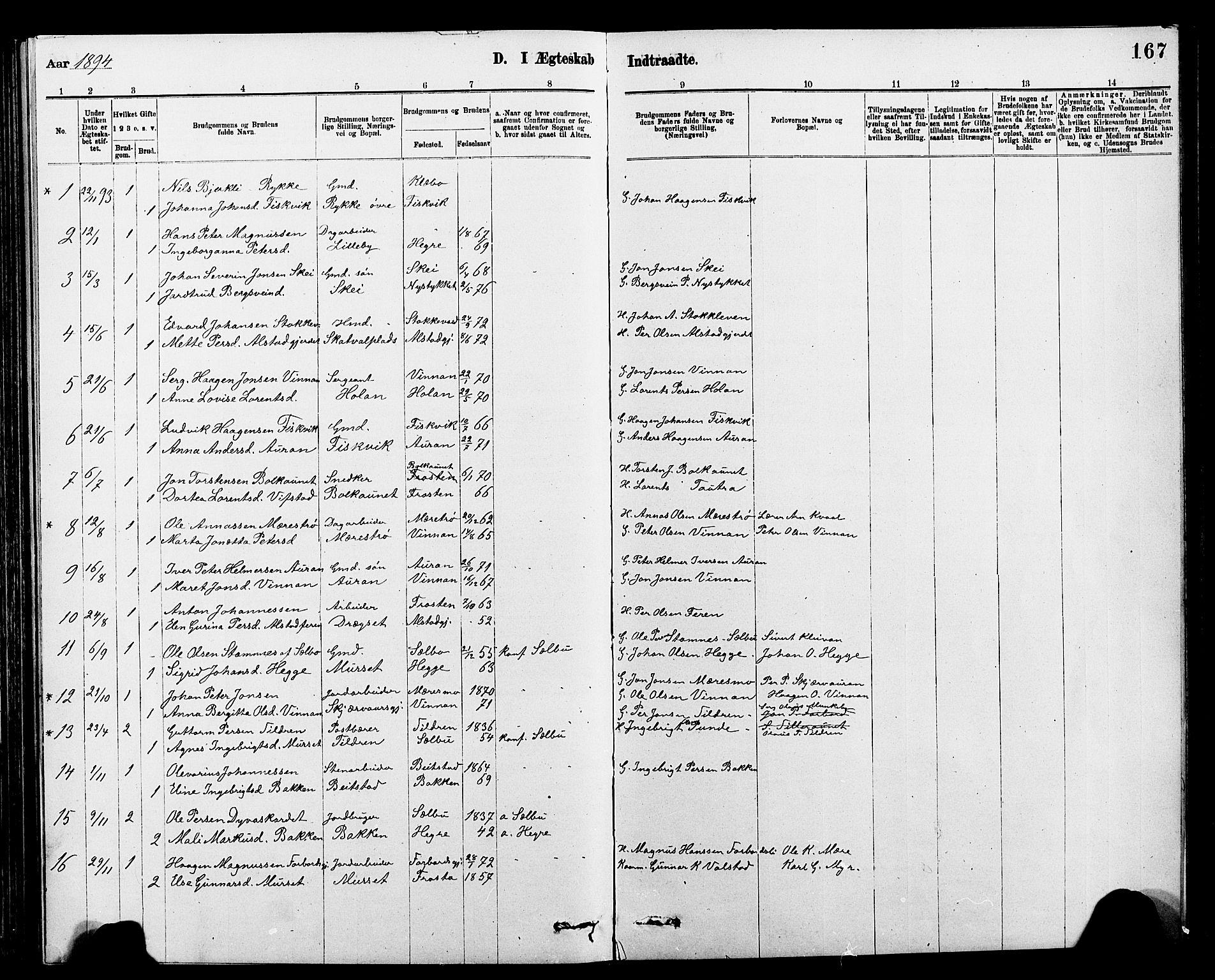 SAT, Ministerialprotokoller, klokkerbøker og fødselsregistre - Nord-Trøndelag, 712/L0103: Parish register (copy) no. 712C01, 1878-1917, p. 167