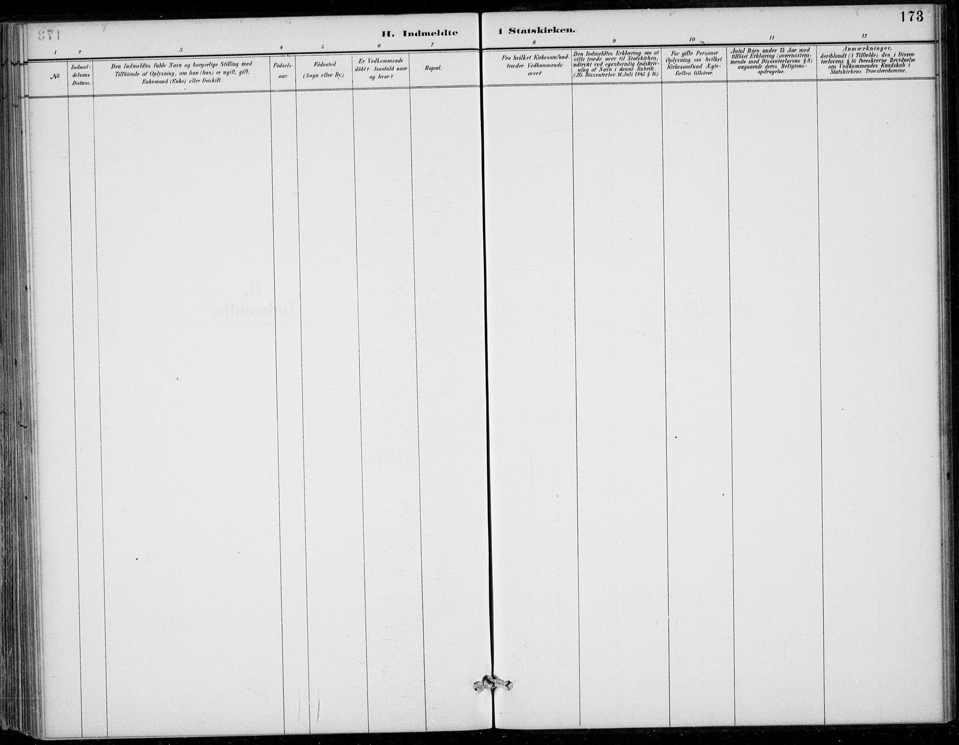 SAB, Strandebarm sokneprestembete, H/Haa: Parish register (official) no. D  1, 1886-1912, p. 173