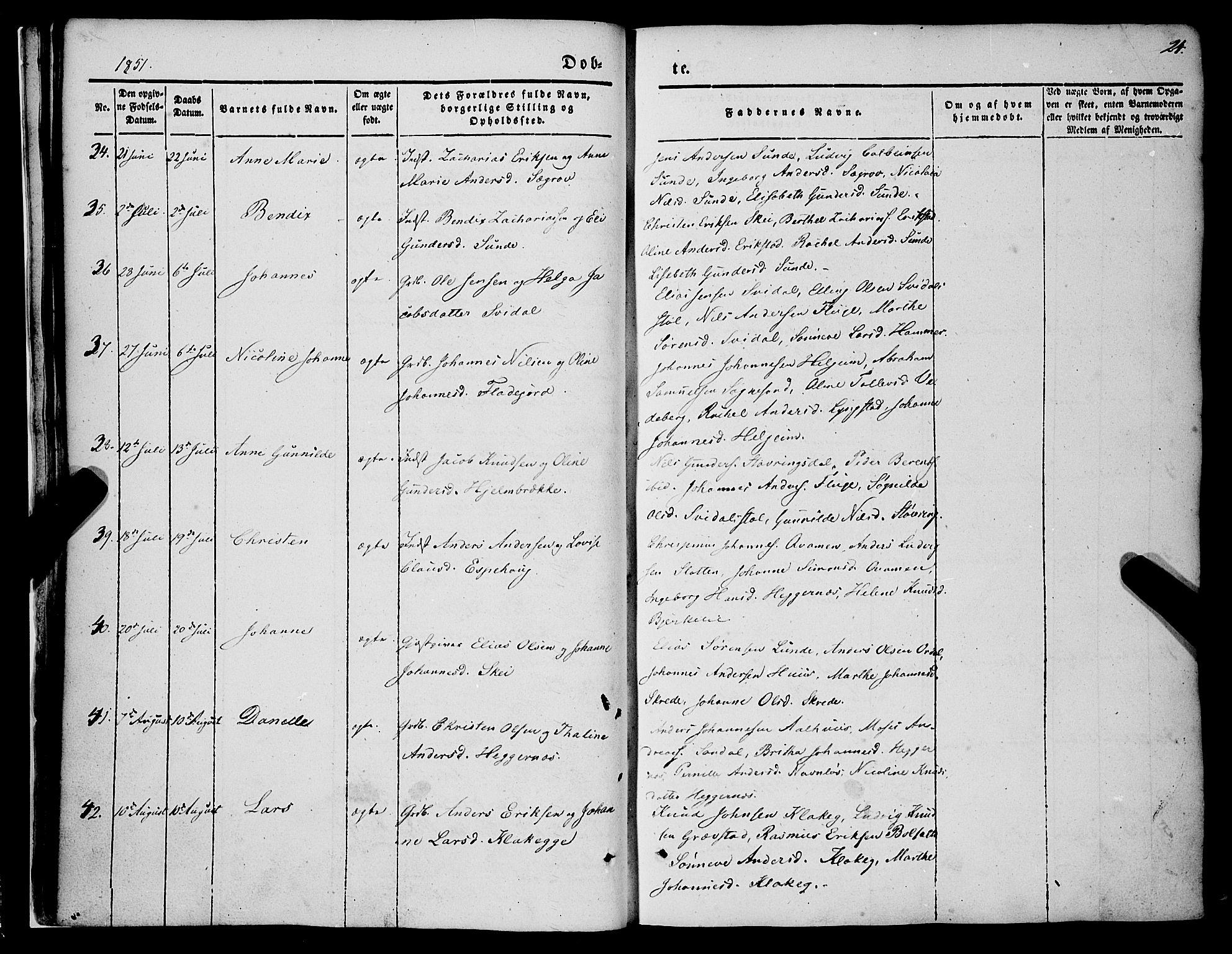 SAB, Jølster sokneprestembete, H/Haa/Haaa/L0010: Parish register (official) no. A 10, 1847-1865, p. 24