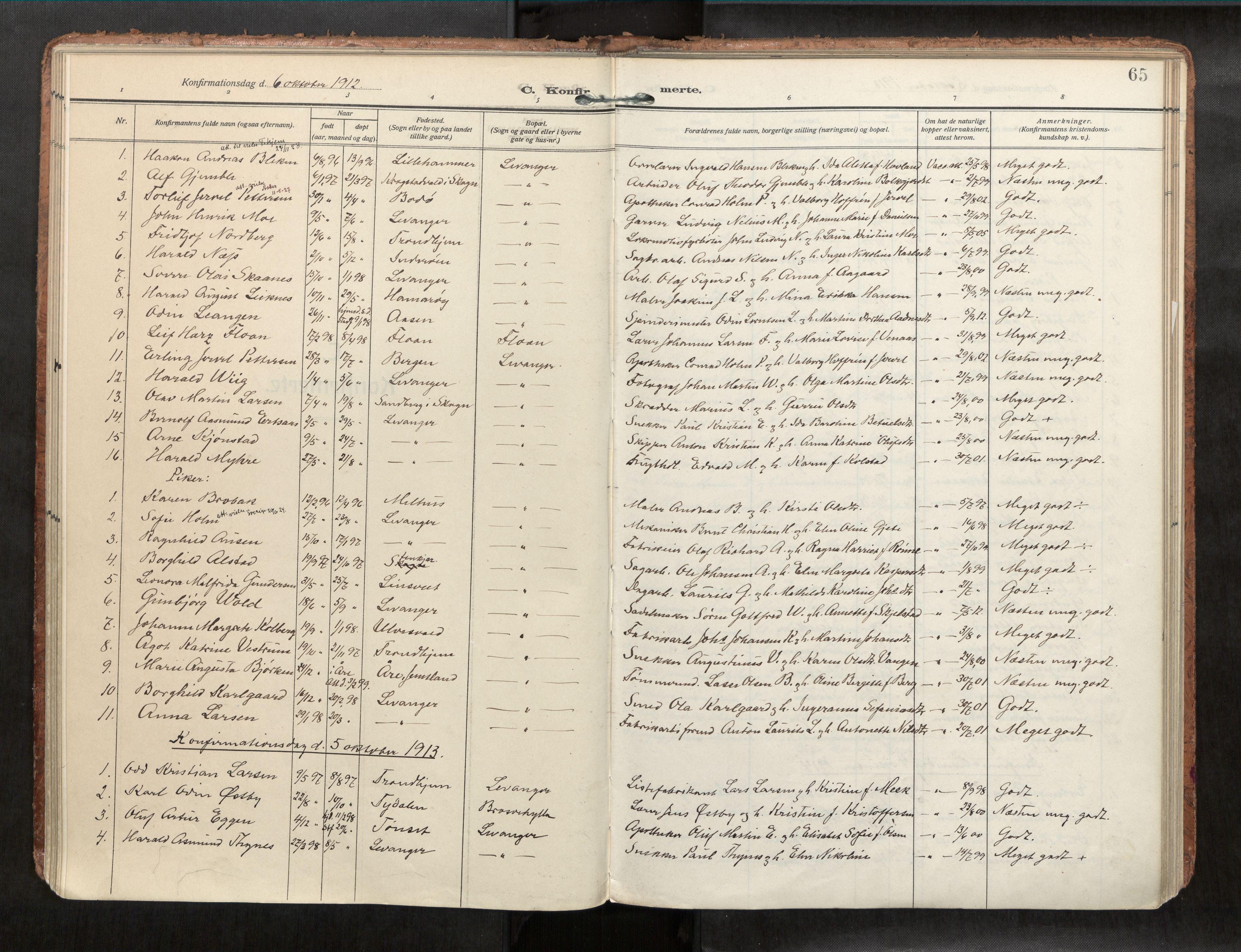 SAT, Levanger sokneprestkontor*, Parish register (official) no. 1, 1912-1932, p. 65