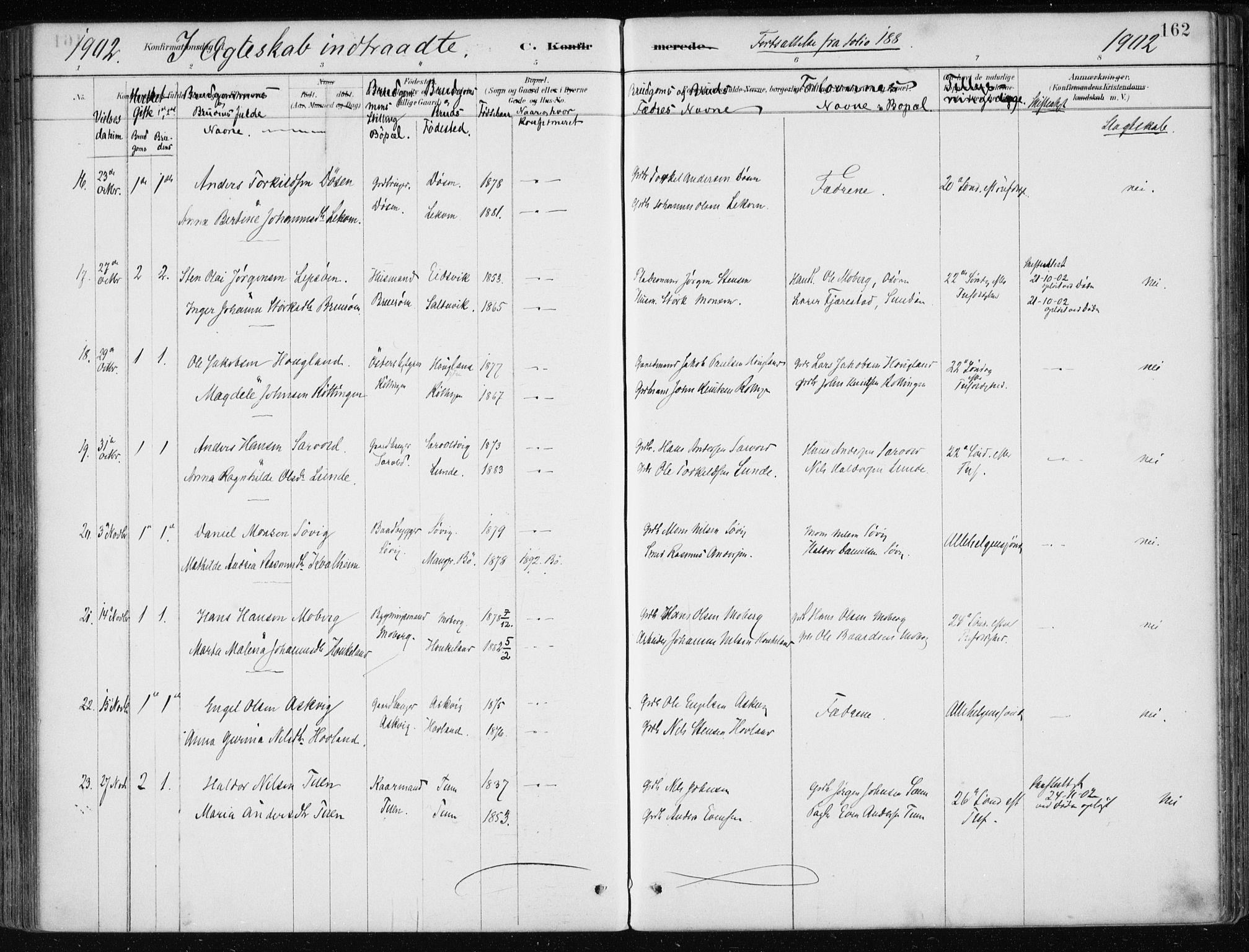 SAB, Os sokneprestembete*, Parish register (official) no. B 1, 1885-1902, p. 162
