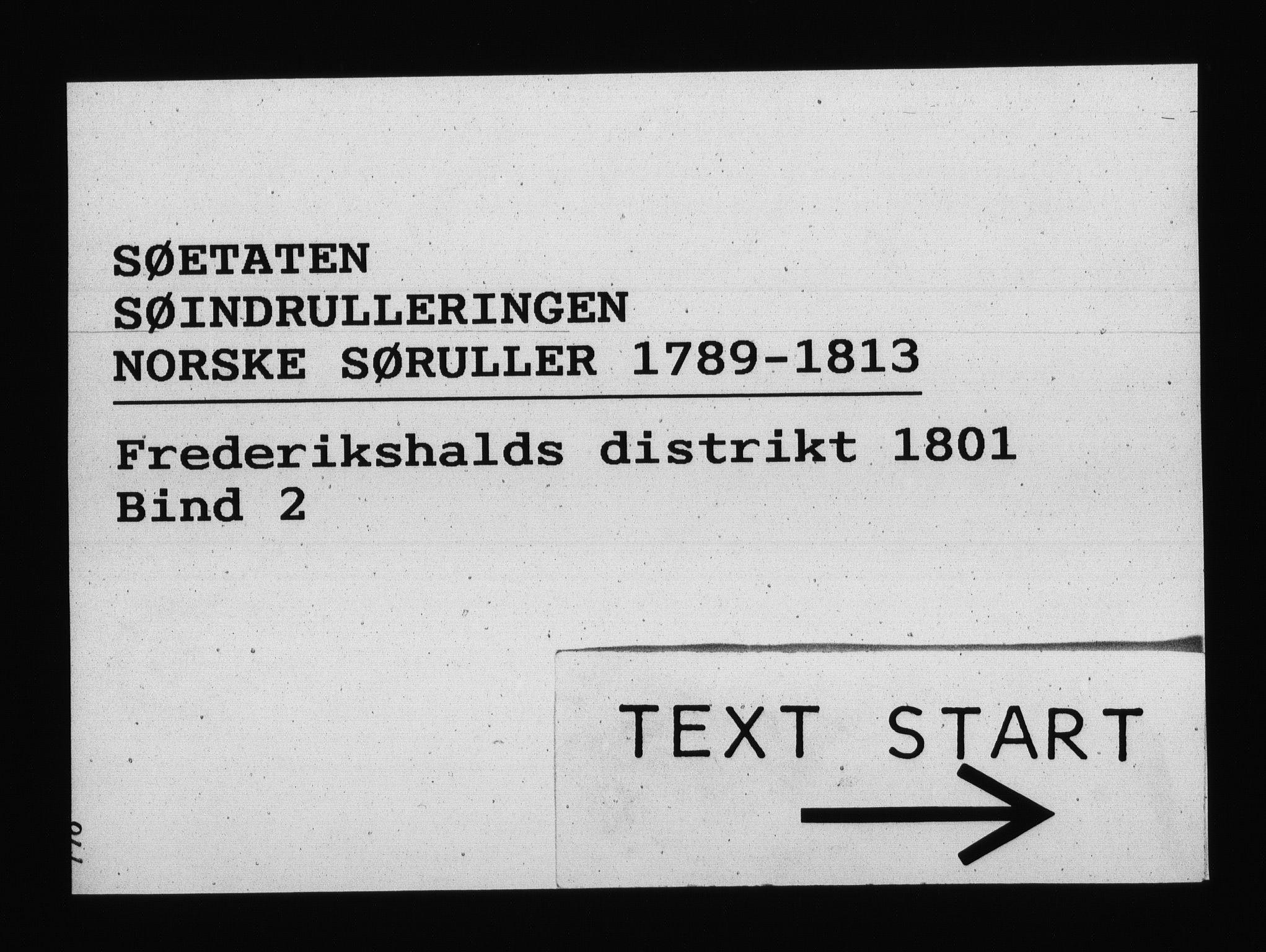 RA, Sjøetaten, F/L0191: Fredrikshalds distrikt, bind 2, 1801