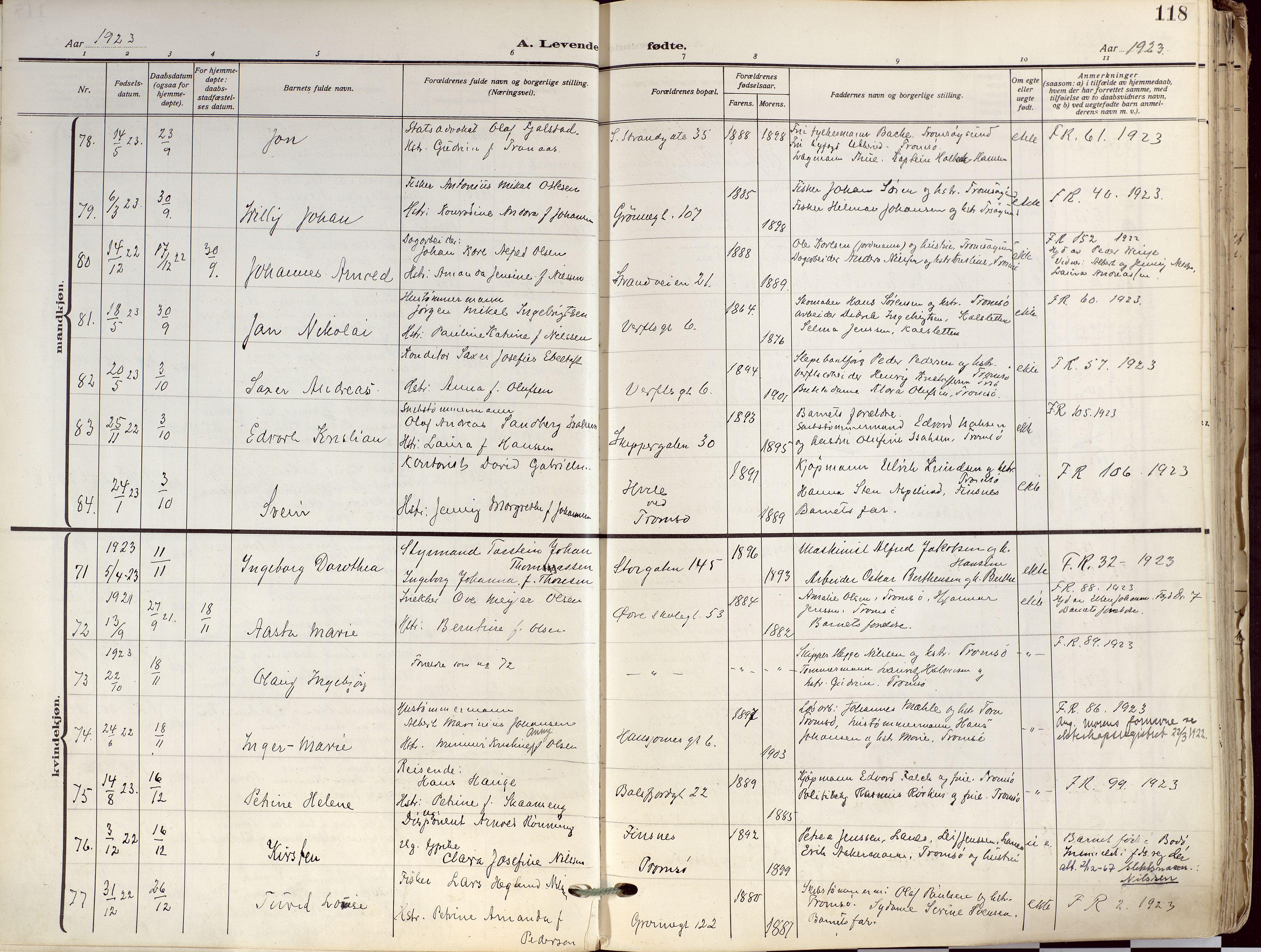 SATØ, Tromsø sokneprestkontor/stiftsprosti/domprosti, G/Ga/L0019kirke: Parish register (official) no. 19, 1917-1927, p. 118