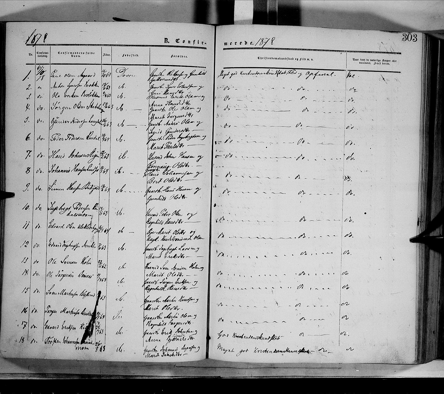 SAH, Dovre prestekontor, Parish register (official) no. 1, 1854-1878, p. 303
