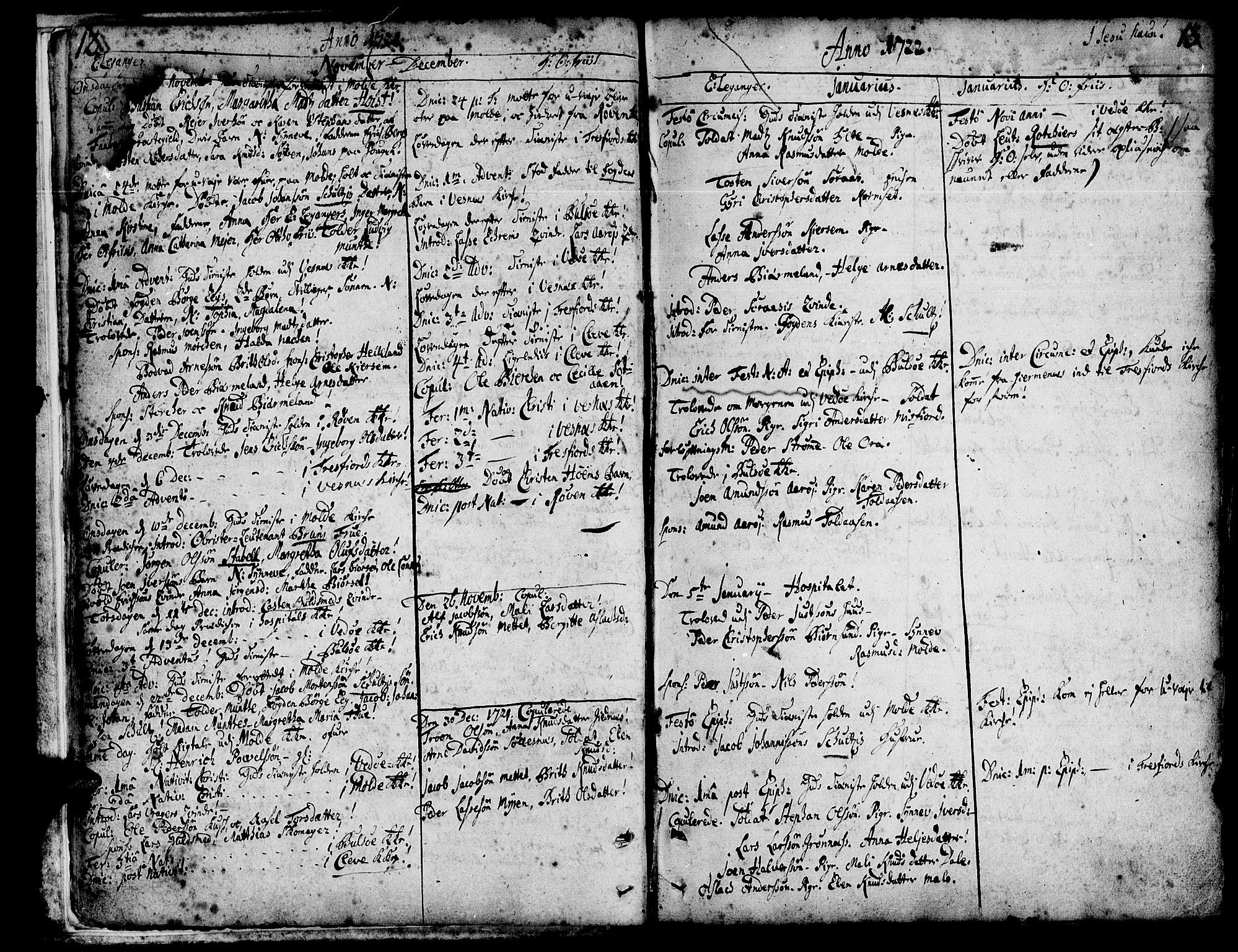SAT, Ministerialprotokoller, klokkerbøker og fødselsregistre - Møre og Romsdal, 547/L0599: Parish register (official) no. 547A01, 1721-1764, p. 12-13