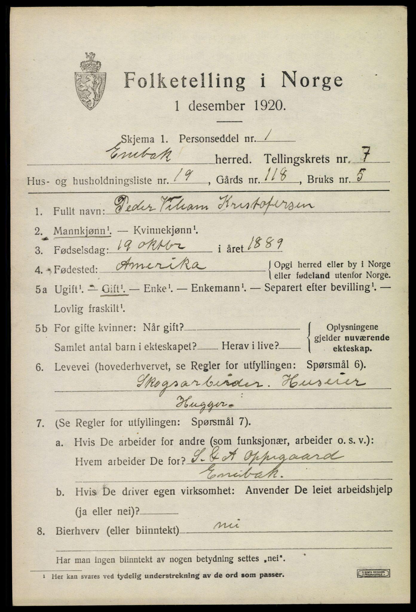 SAO, 1920 census for Enebakk, 1920, p. 6319