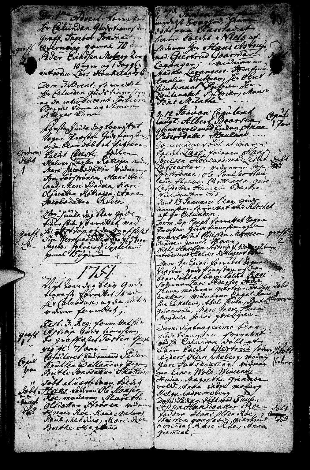 SAB, Os sokneprestembete*, Parish register (official) no. A 2, 1723-1758, p. 93