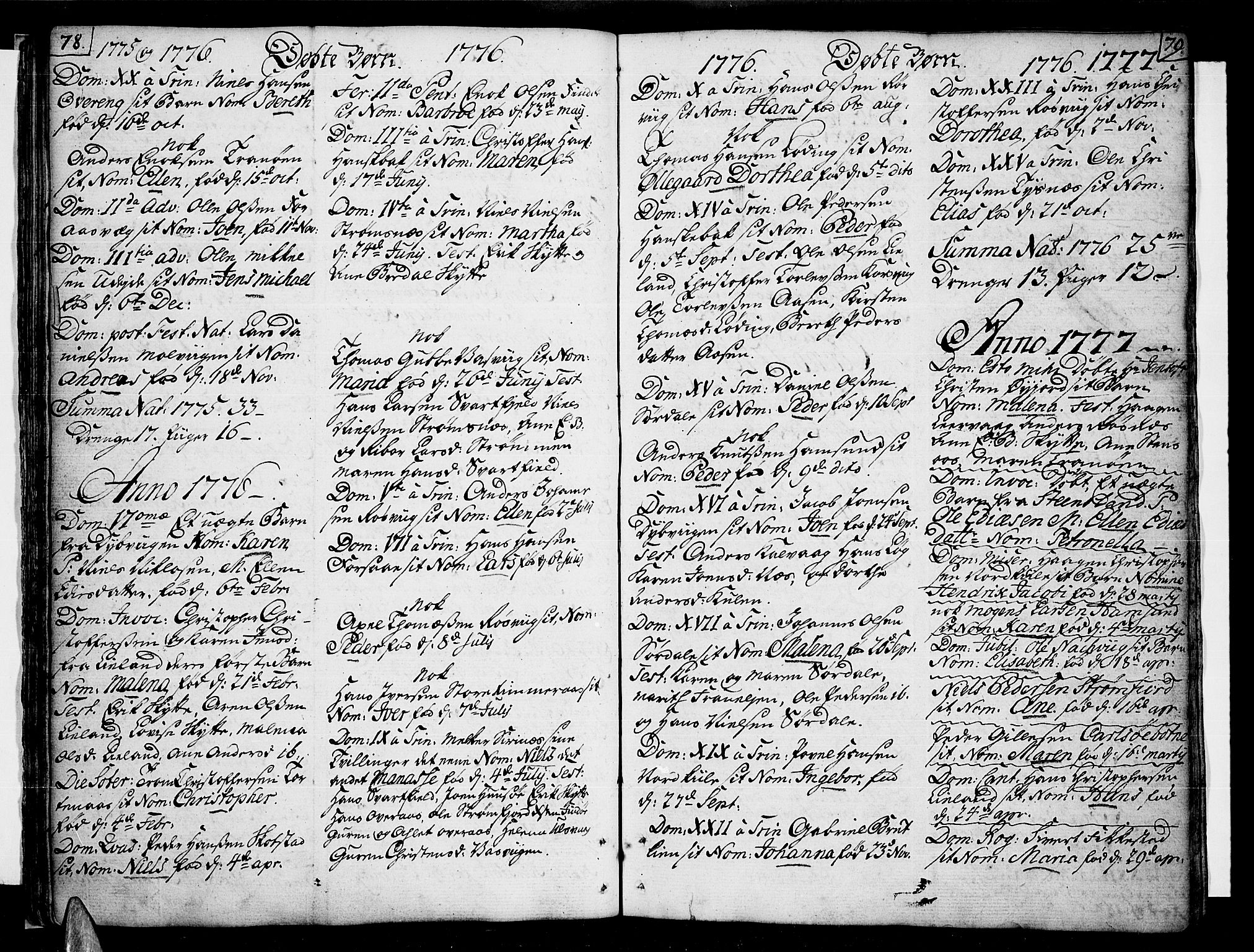 SAT, Ministerialprotokoller, klokkerbøker og fødselsregistre - Nordland, 859/L0841: Parish register (official) no. 859A01, 1766-1821, p. 78-79