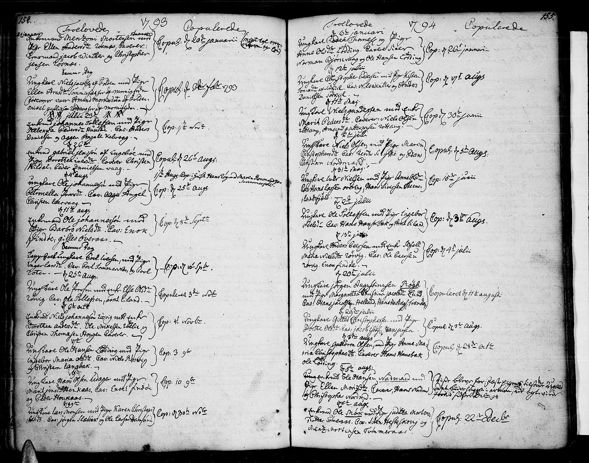 SAT, Ministerialprotokoller, klokkerbøker og fødselsregistre - Nordland, 859/L0841: Parish register (official) no. 859A01, 1766-1821, p. 154-155