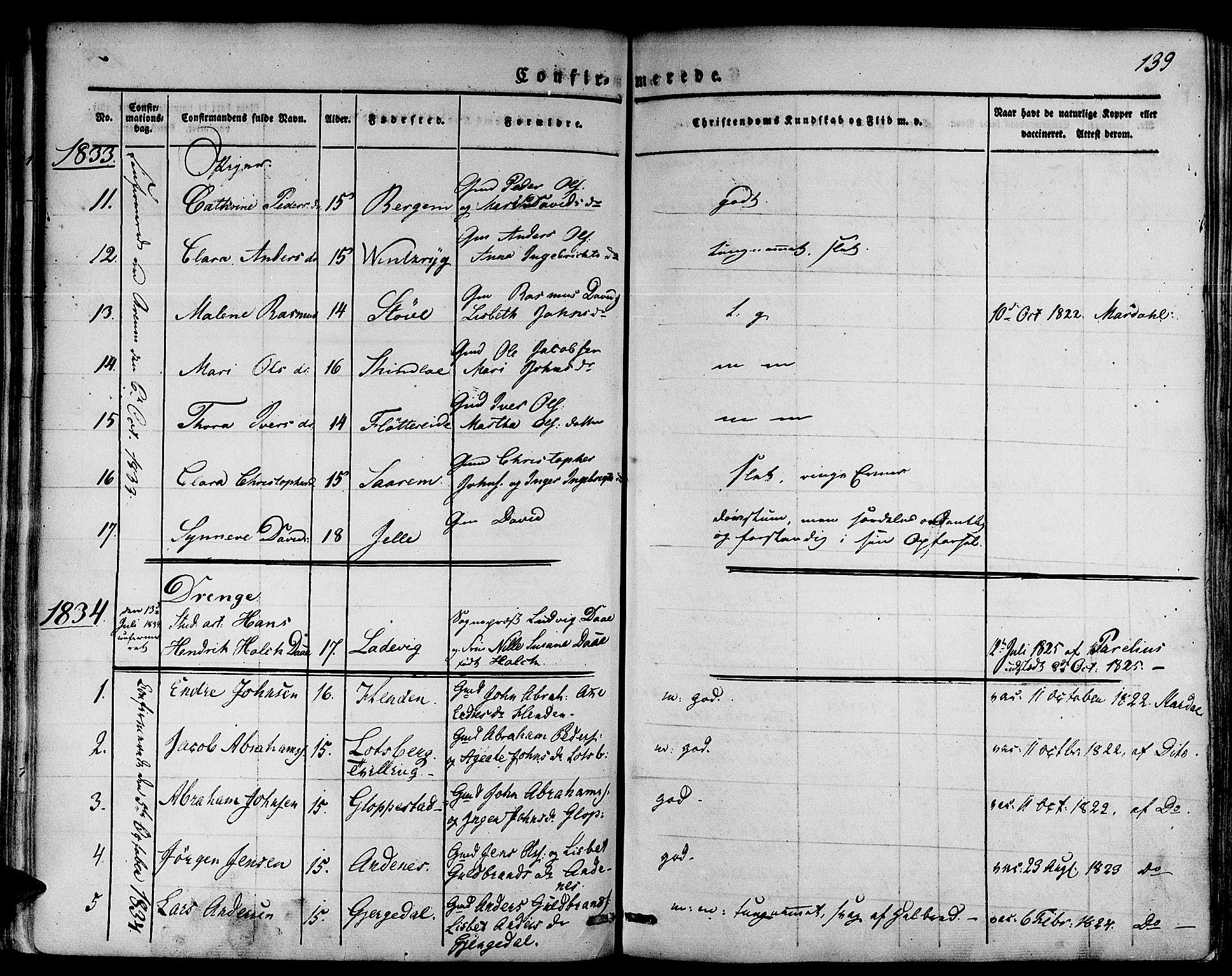 SAB, Gloppen Sokneprestembete, H/Haa/Haaa/L0007: Parish register (official) no. A 7, 1827-1837, p. 139