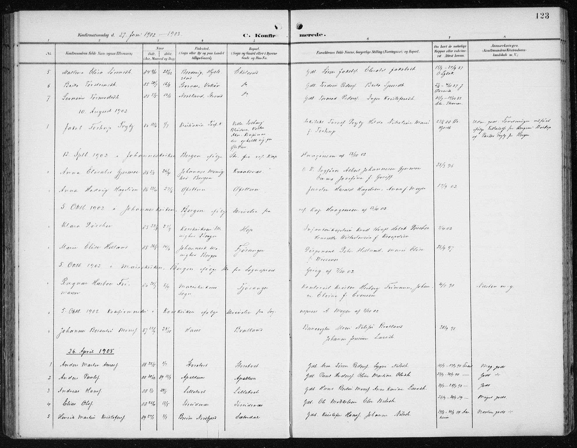 SAB, Fana Sokneprestembete, H/Haa/Haai/L0003: Parish register (official) no. I 3, 1900-1912, p. 123