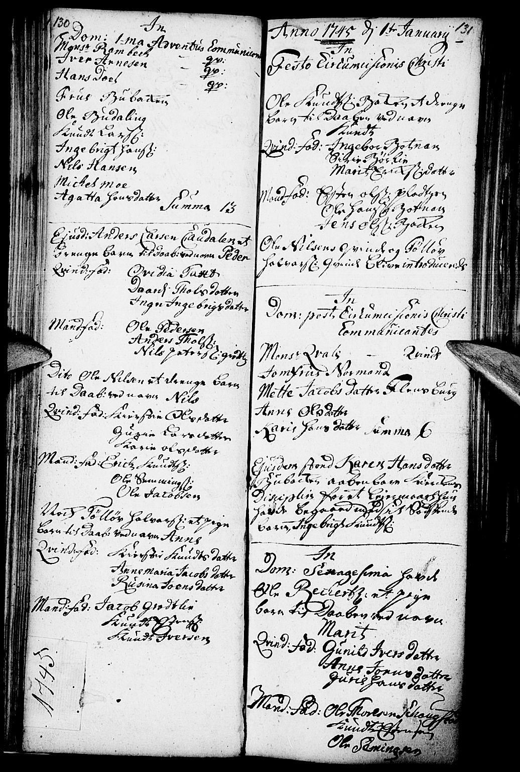 SAH, Kvikne prestekontor, Parish register (official) no. 1, 1740-1756, p. 130-131