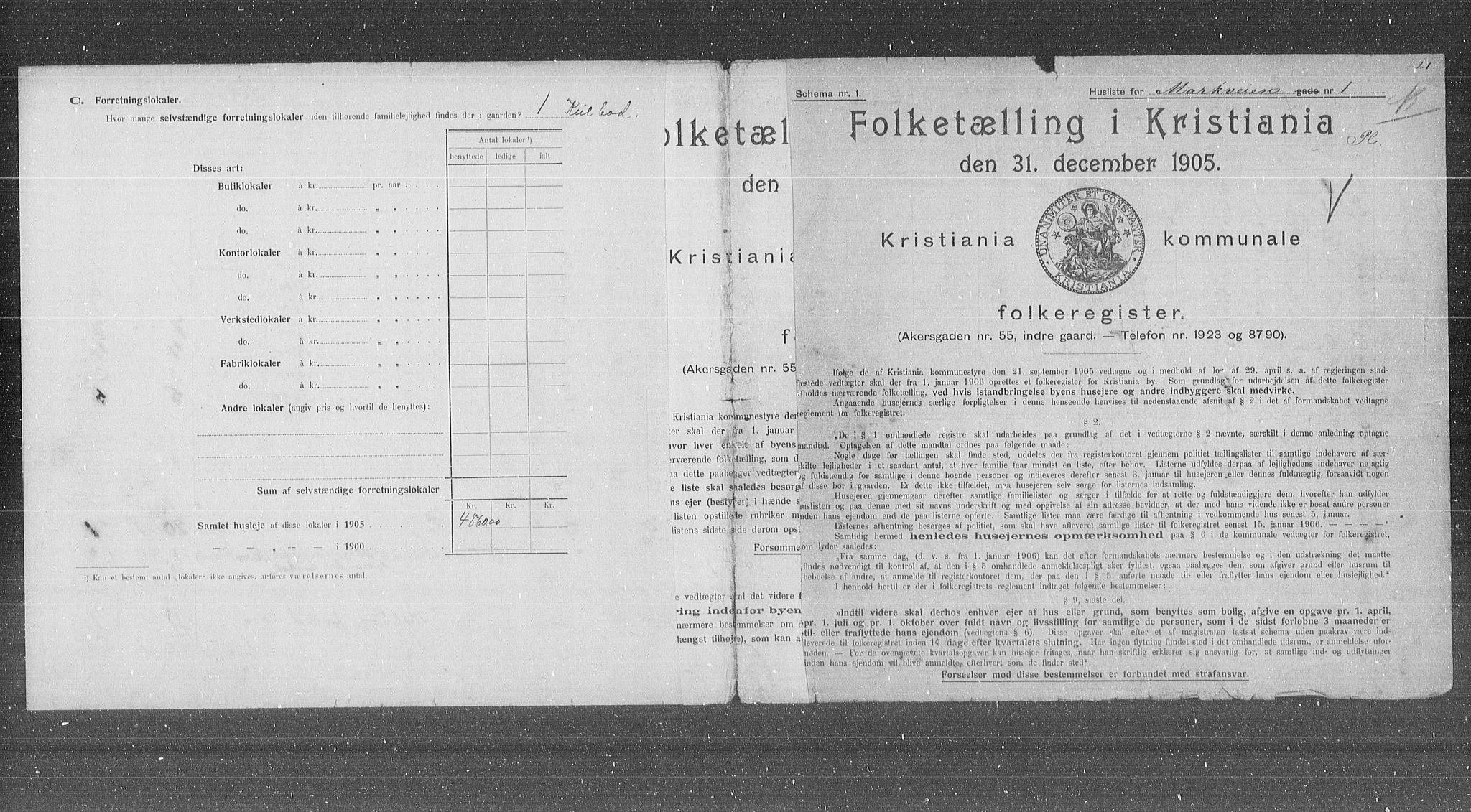 OBA, Municipal Census 1905 for Kristiania, 1905, p. 33065