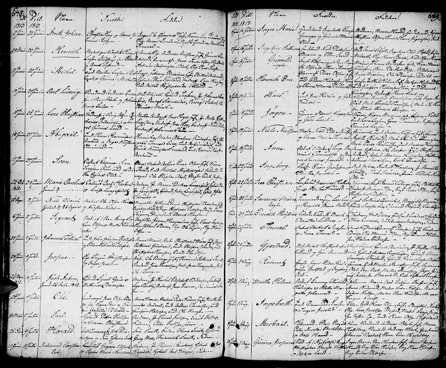 SAK, Kristiansand domprosti, F/Fa/L0003: Parish register (official) no. A 3, 1778-1818, p. 678-679