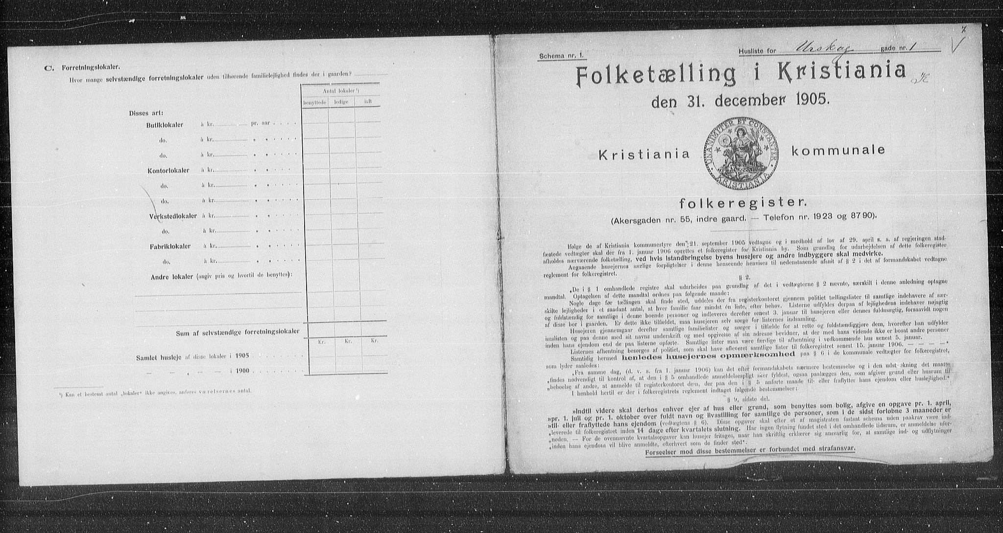 OBA, Municipal Census 1905 for Kristiania, 1905, p. 63326