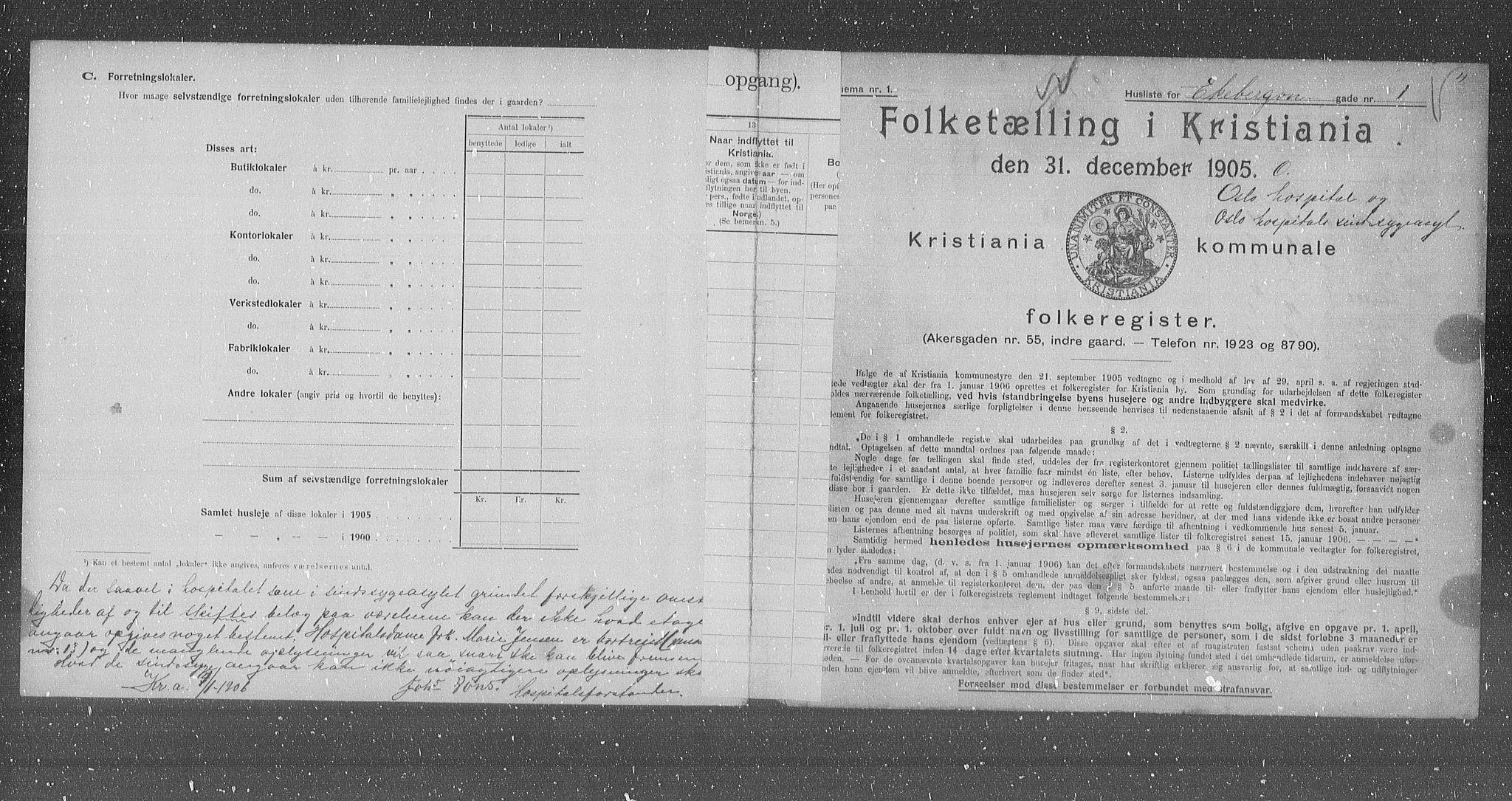 OBA, Municipal Census 1905 for Kristiania, 1905, p. 10112
