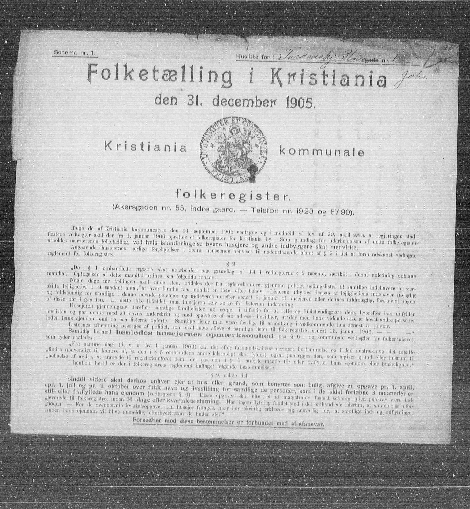 OBA, Municipal Census 1905 for Kristiania, 1905, p. 59730
