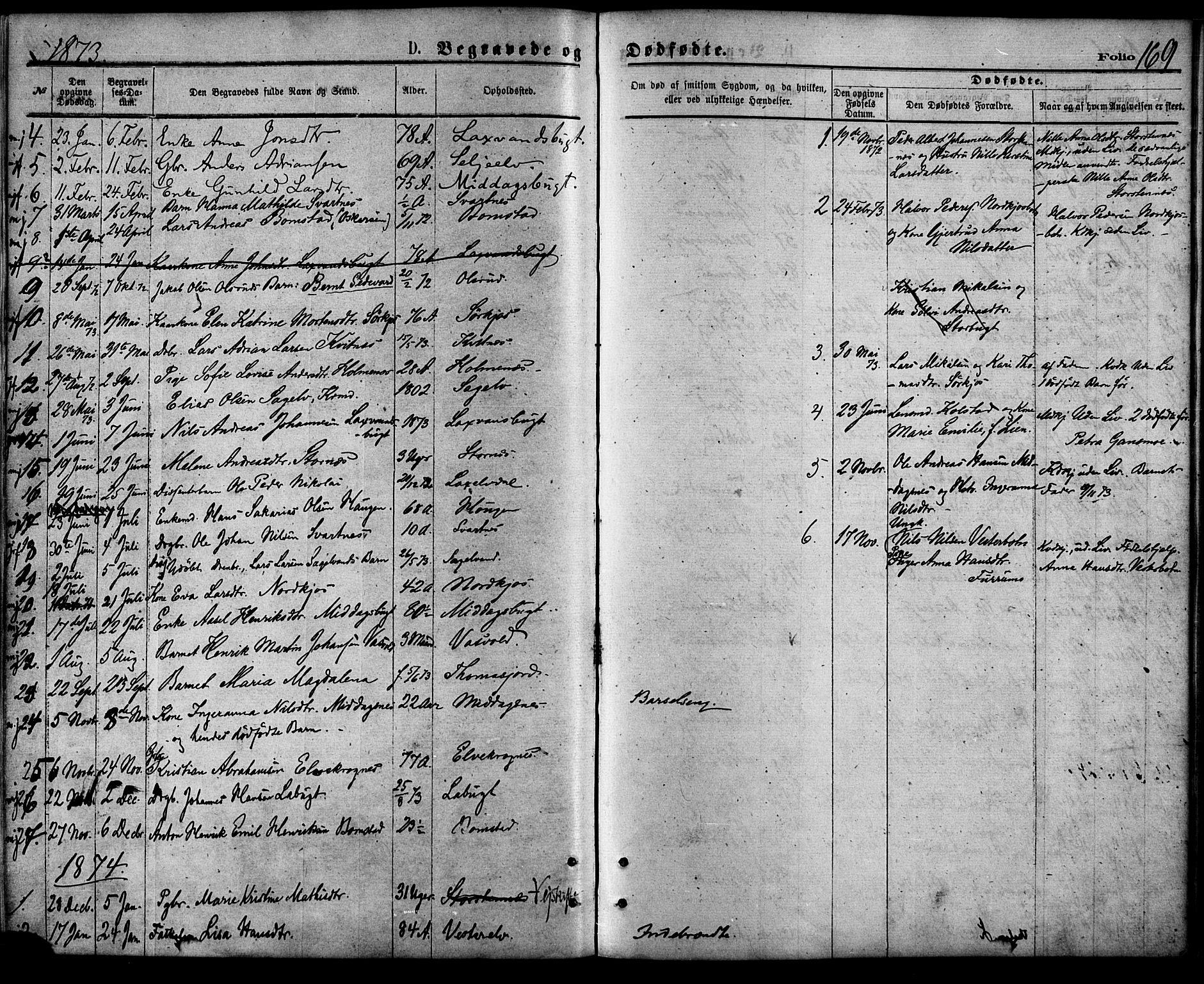 SATØ, Balsfjord sokneprestembete, Parish register (official) no. 4, 1871-1883, p. 169