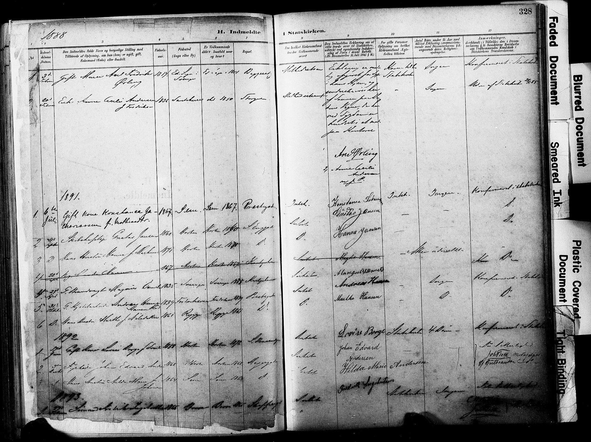 SAKO, Horten kirkebøker, F/Fa/L0004: Parish register (official) no. 4, 1888-1895, p. 328