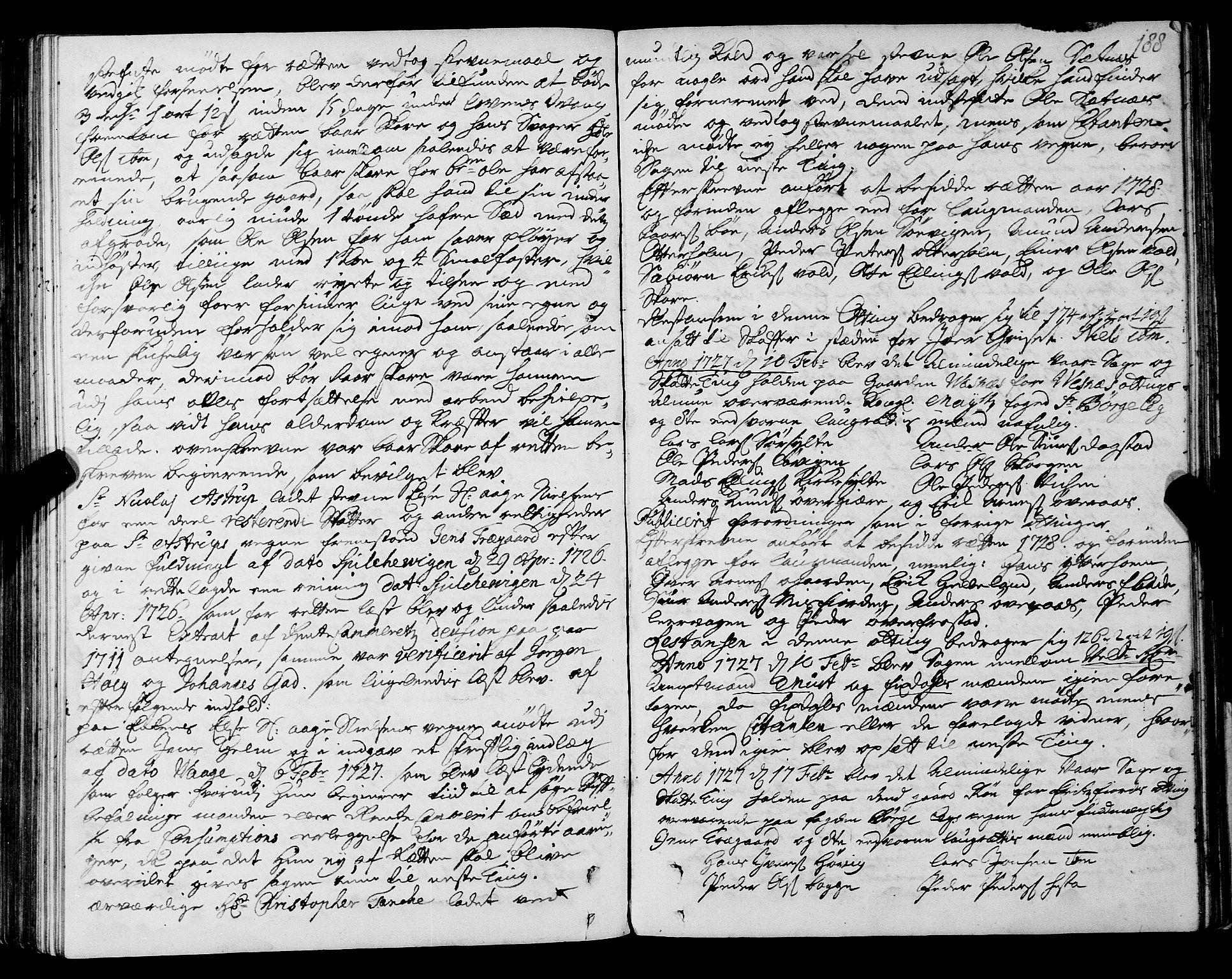 SAT, Romsdal sorenskriveri, 1/1A/L0009: Tingbok, 1722-1728, p. 187b-188a