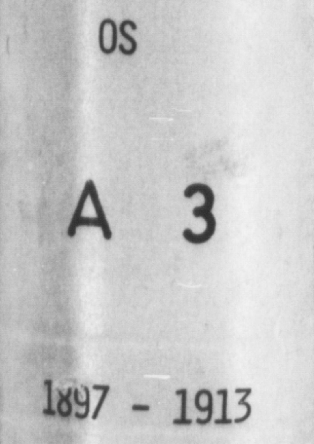 SAB, Os sokneprestembete*, Parish register (copy) no. A 3, 1897-1913