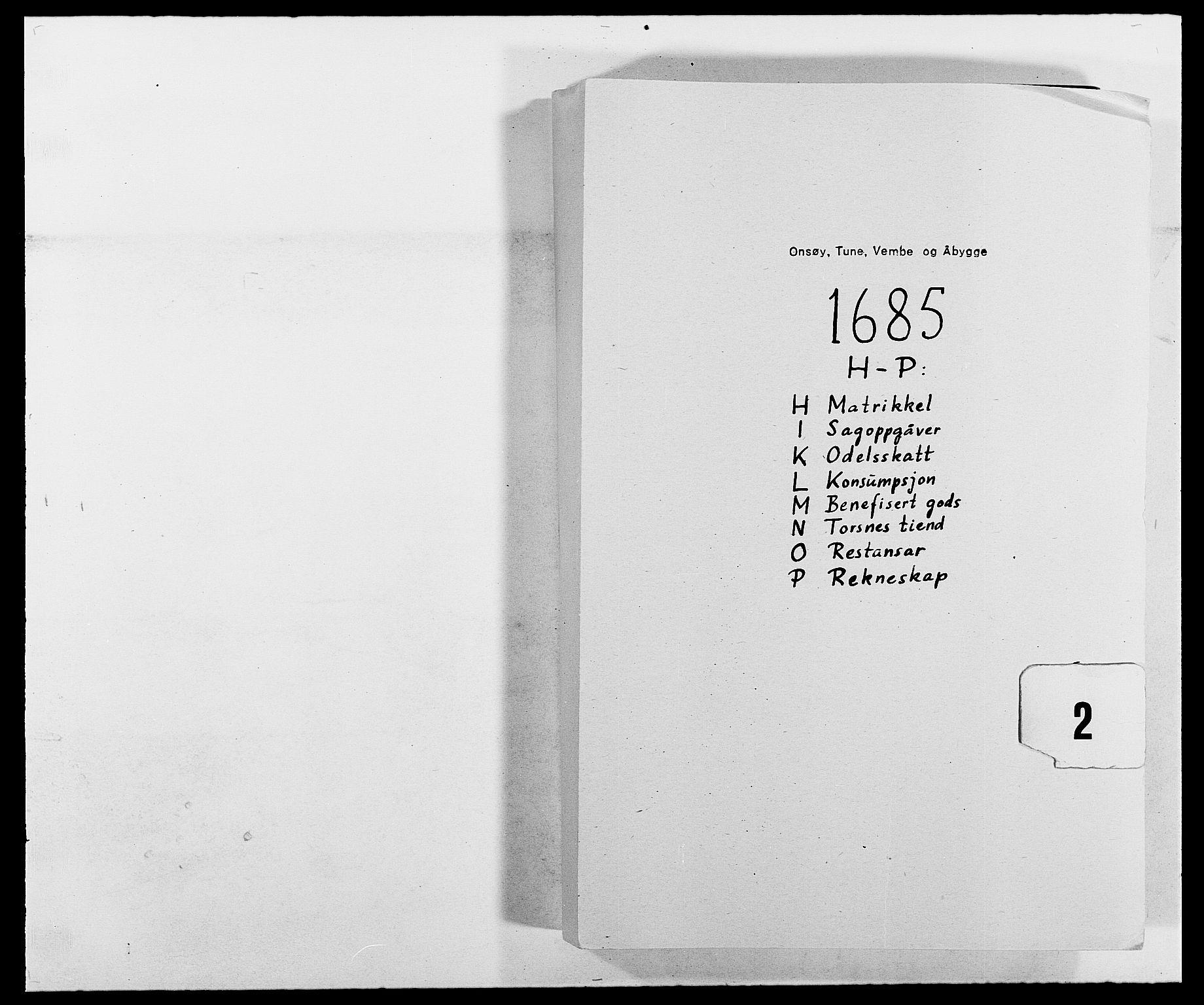RA, Rentekammeret inntil 1814, Reviderte regnskaper, Fogderegnskap, R03/L0116: Fogderegnskap Onsøy, Tune, Veme og Åbygge fogderi, 1684-1689, p. 1