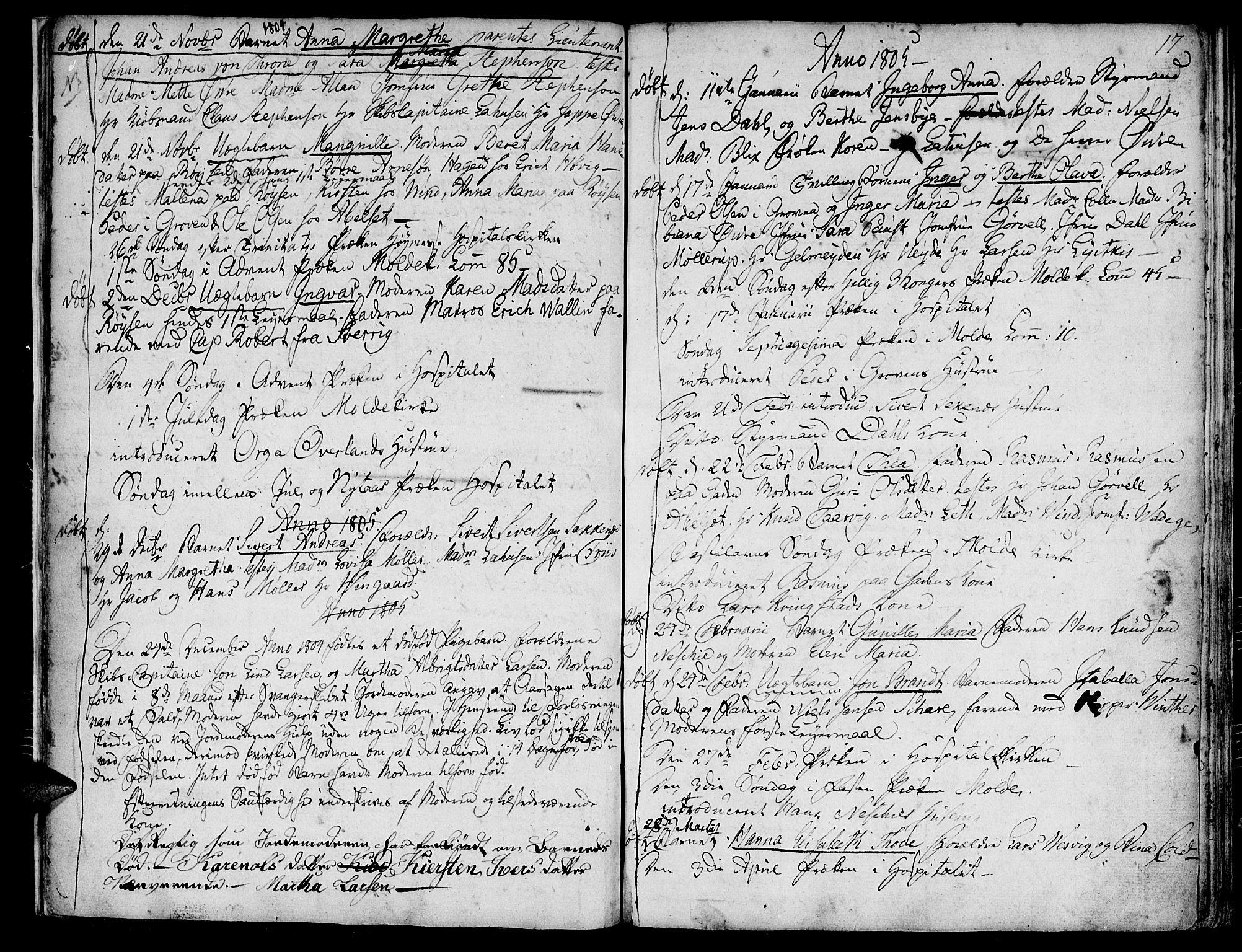 SAT, Ministerialprotokoller, klokkerbøker og fødselsregistre - Møre og Romsdal, 558/L0687: Parish register (official) no. 558A01, 1798-1818, p. 17