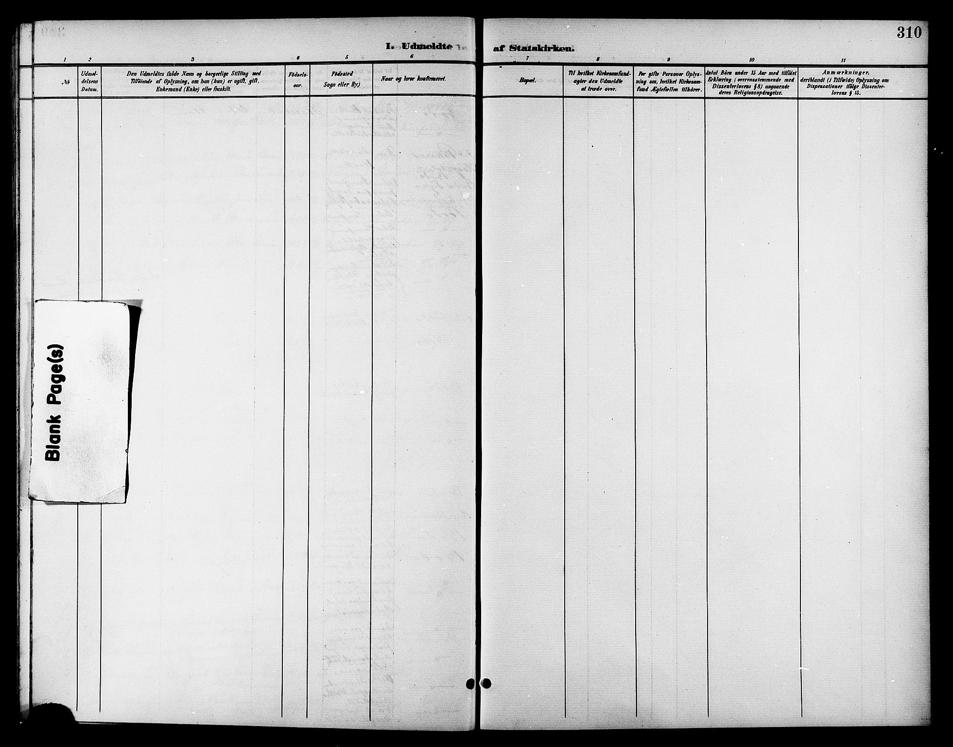 SAT, Ministerialprotokoller, klokkerbøker og fødselsregistre - Nordland, 801/L0033: Parish register (copy) no. 801C08, 1898-1910, p. 310