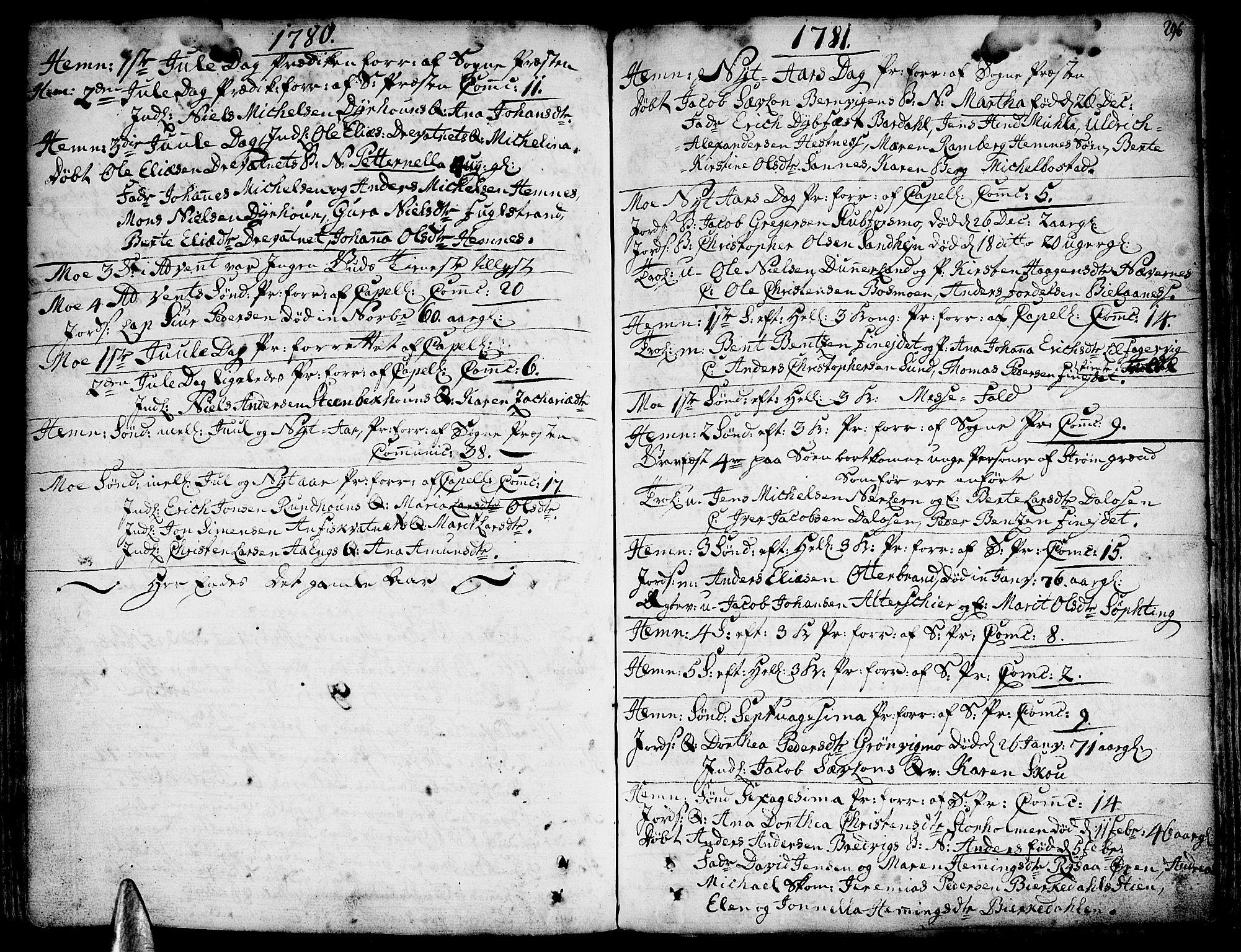 SAT, Ministerialprotokoller, klokkerbøker og fødselsregistre - Nordland, 825/L0348: Parish register (official) no. 825A04, 1752-1788, p. 296