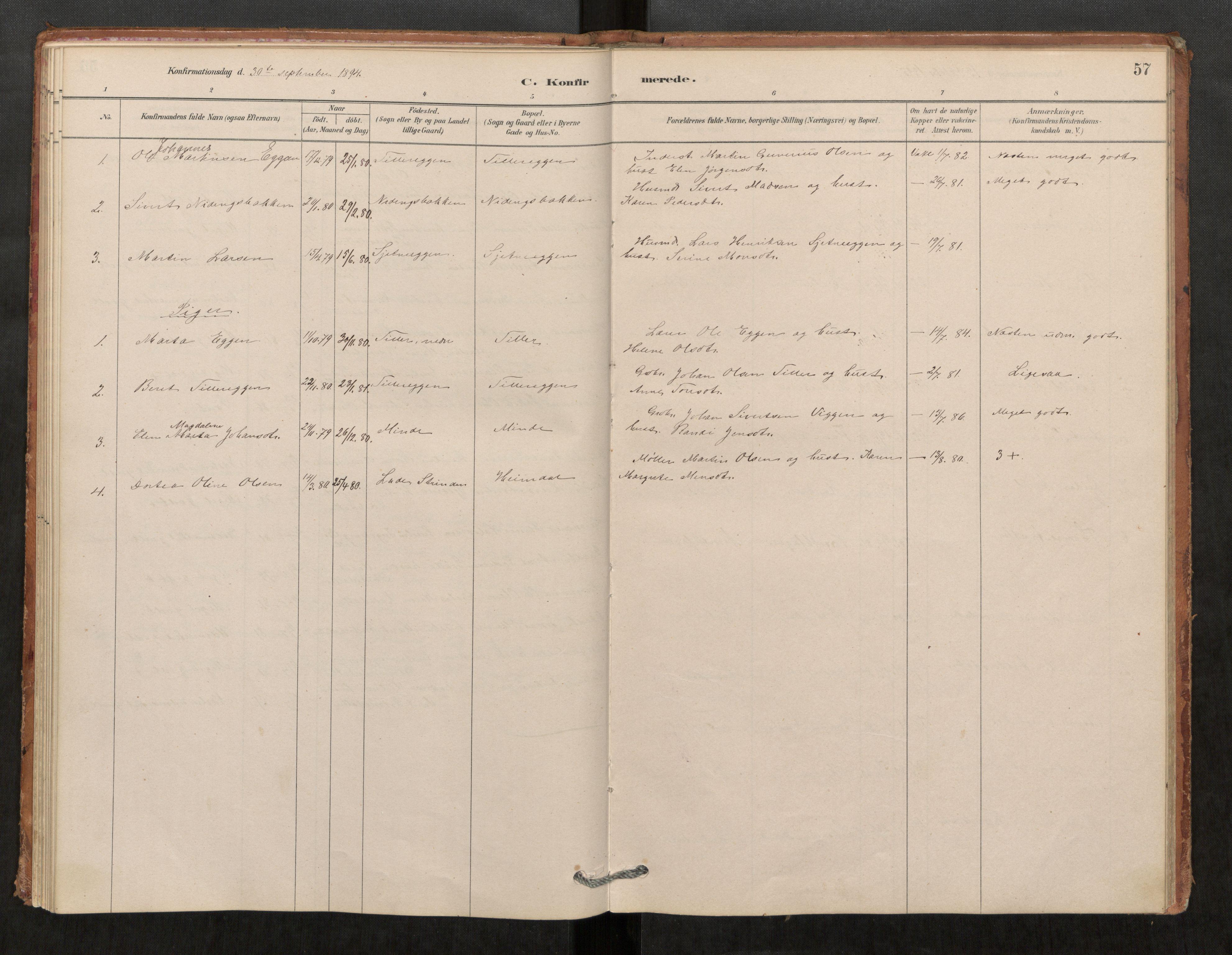 SAT, Klæbu sokneprestkontor, Parish register (official) no. 1, 1880-1900, p. 57