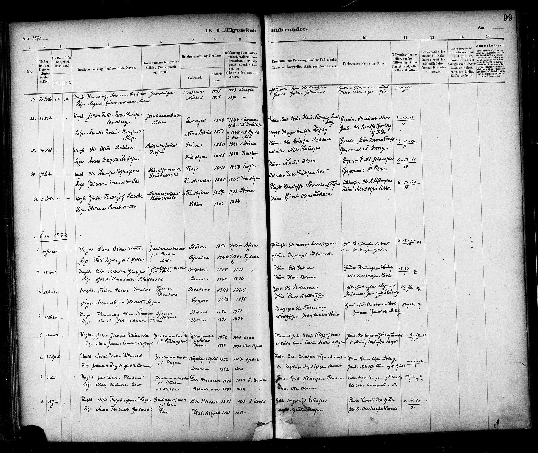 SAT, Ministerialprotokoller, klokkerbøker og fødselsregistre - Nord-Trøndelag, 706/L0047: Parish register (official) no. 706A03, 1878-1892, p. 99