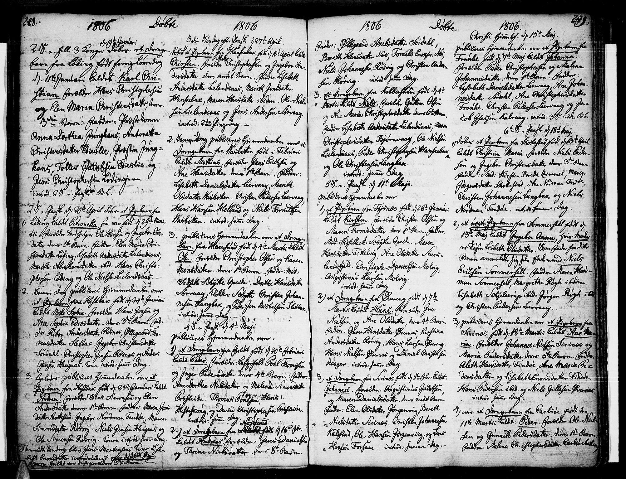 SAT, Ministerialprotokoller, klokkerbøker og fødselsregistre - Nordland, 859/L0841: Parish register (official) no. 859A01, 1766-1821, p. 248-249