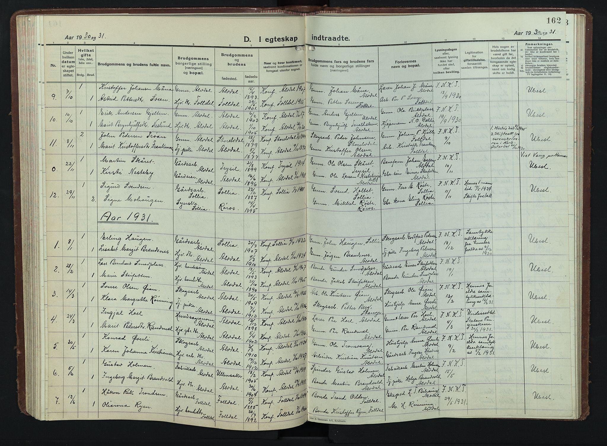 SAH, Alvdal prestekontor, Parish register (copy) no. 7, 1924-1945, p. 162