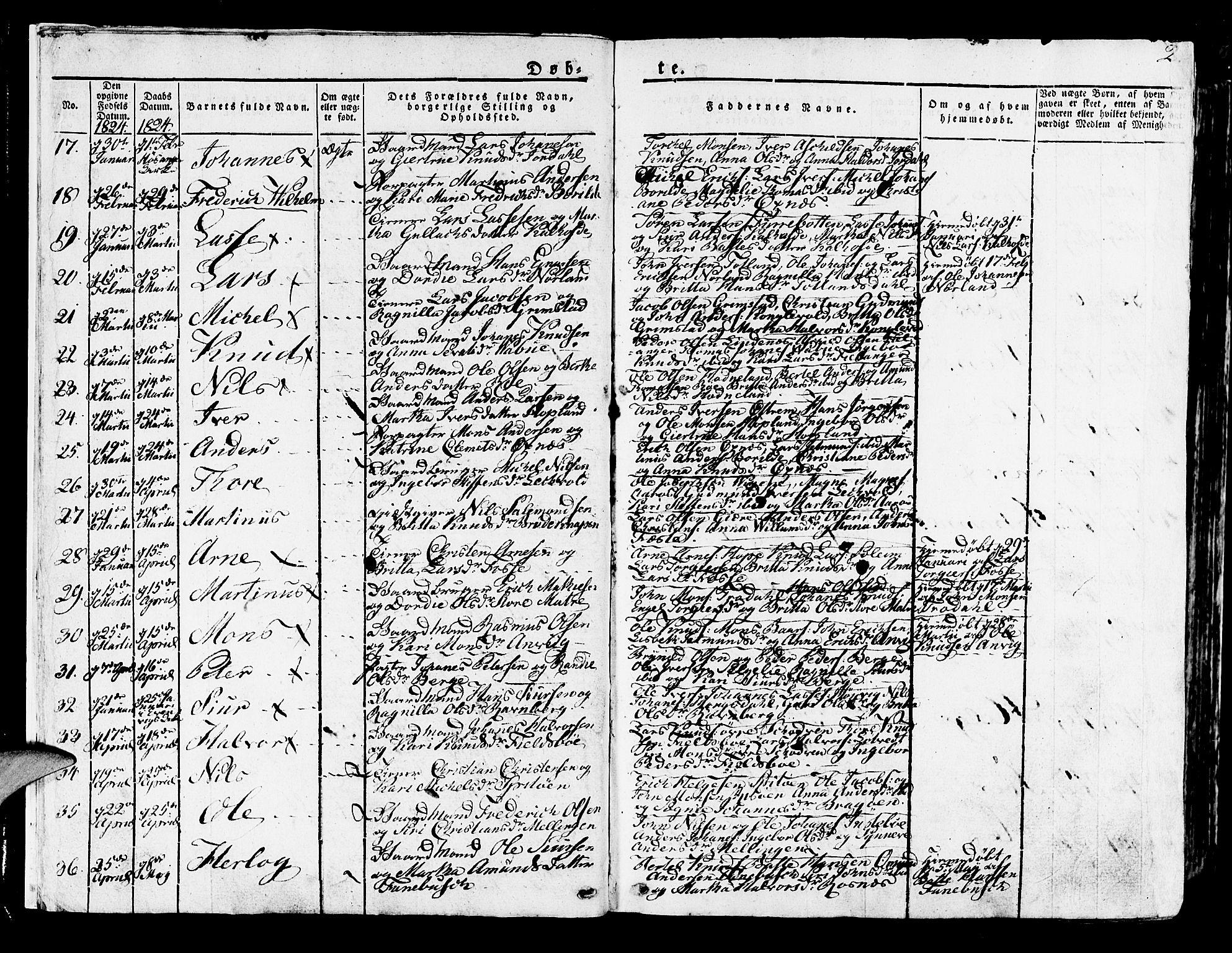 SAB, Lindås Sokneprestembete, H/Haa: Parish register (official) no. A 8, 1823-1836, p. 2