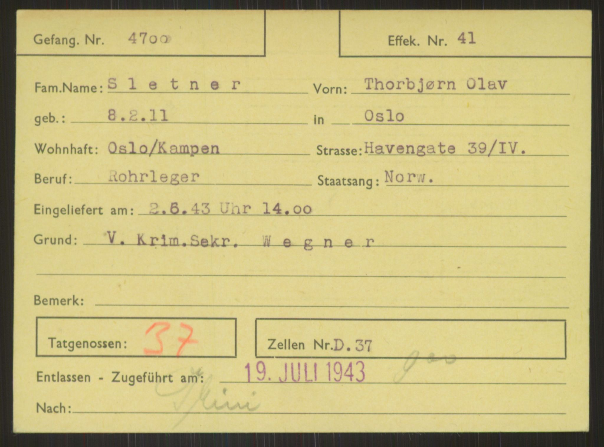 RA, Befehlshaber der Sicherheitspolizei und des SD, E/Ea/Eab/L0005: Register over norske fanger i Møllergata 19 ordnet etter fangenummer: 4700-5499, 1940-1945