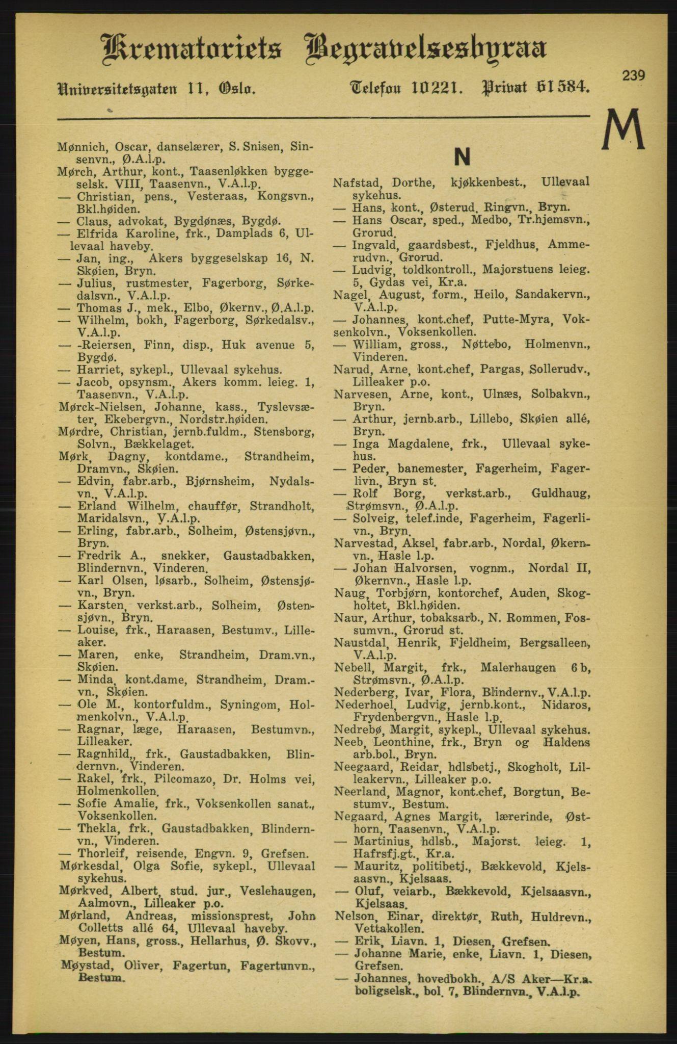 RA, Aker adressebok/adressekalender (publikasjon)*, 1924-1925, p. 239