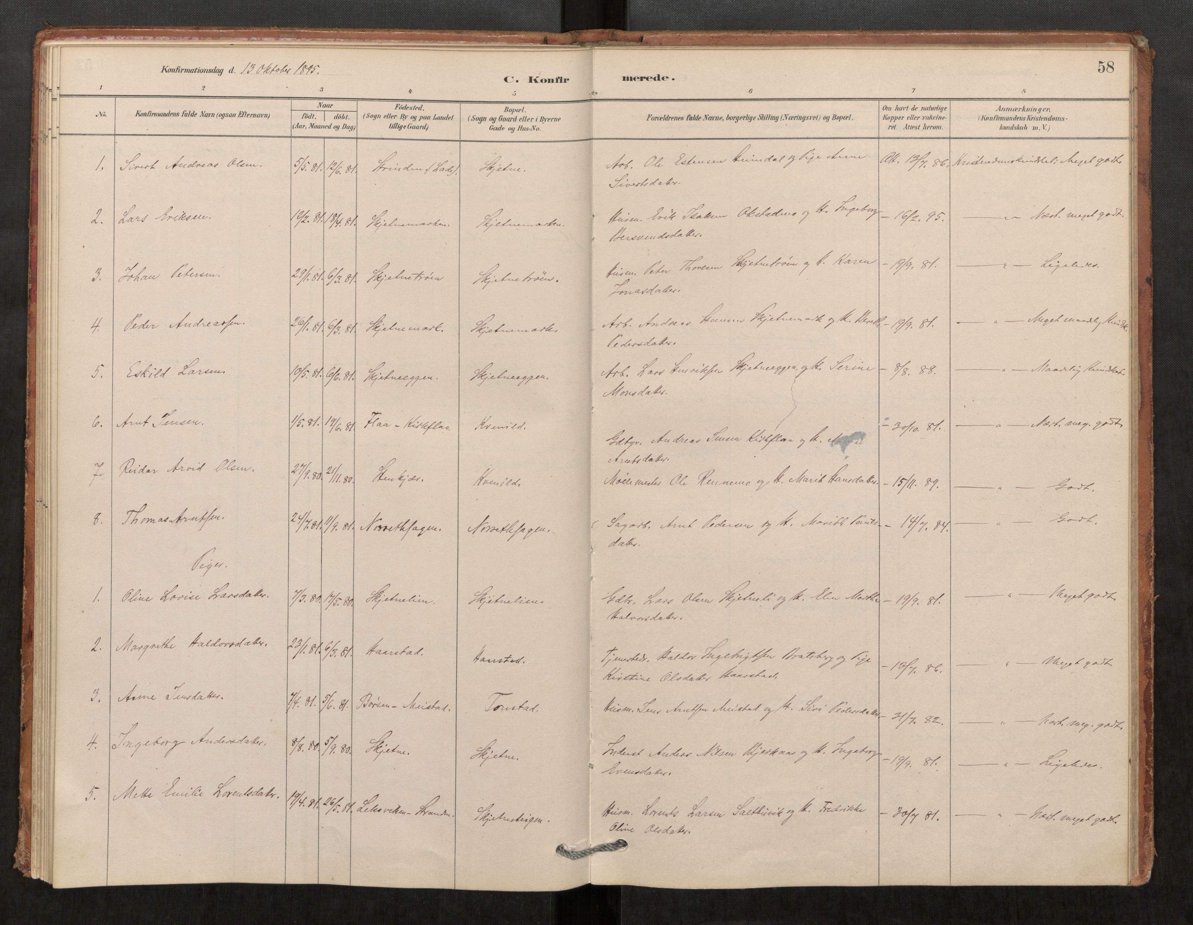 SAT, Klæbu sokneprestkontor, Parish register (official) no. 1, 1880-1900, p. 58