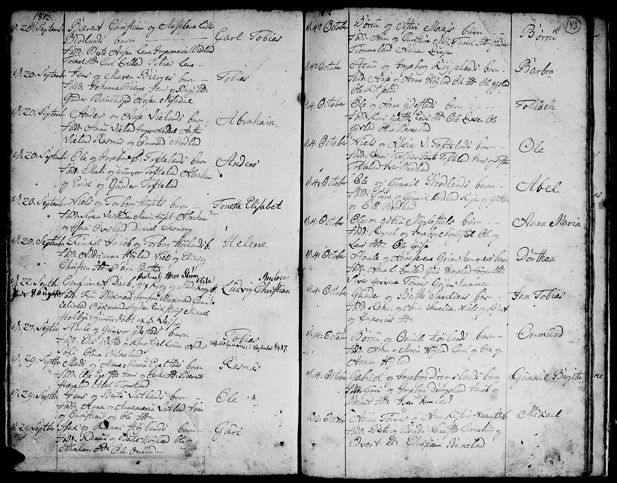 SAK, Lyngdal sokneprestkontor, F/Fa/Fac/L0004: Parish register (official) no. A 4, 1780-1815, p. 143