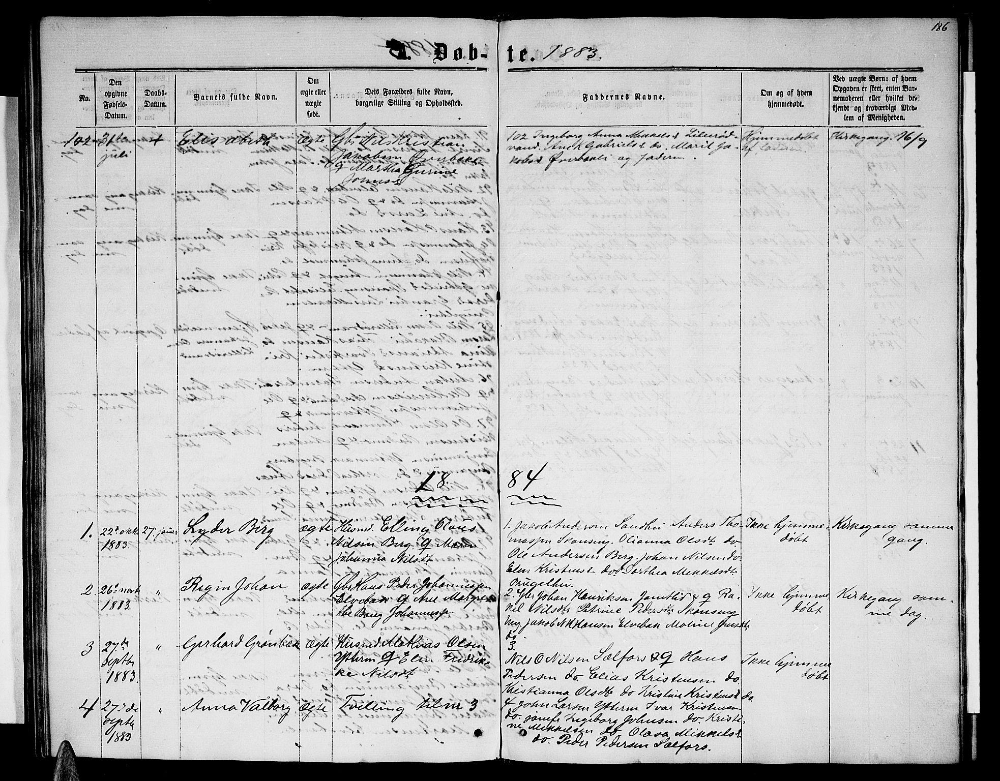 SAT, Ministerialprotokoller, klokkerbøker og fødselsregistre - Nordland, 827/L0415: Parish register (copy) no. 827C04, 1864-1886, p. 186