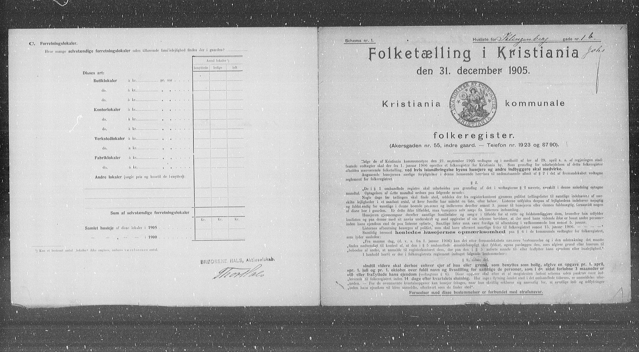 OBA, Municipal Census 1905 for Kristiania, 1905, p. 27306