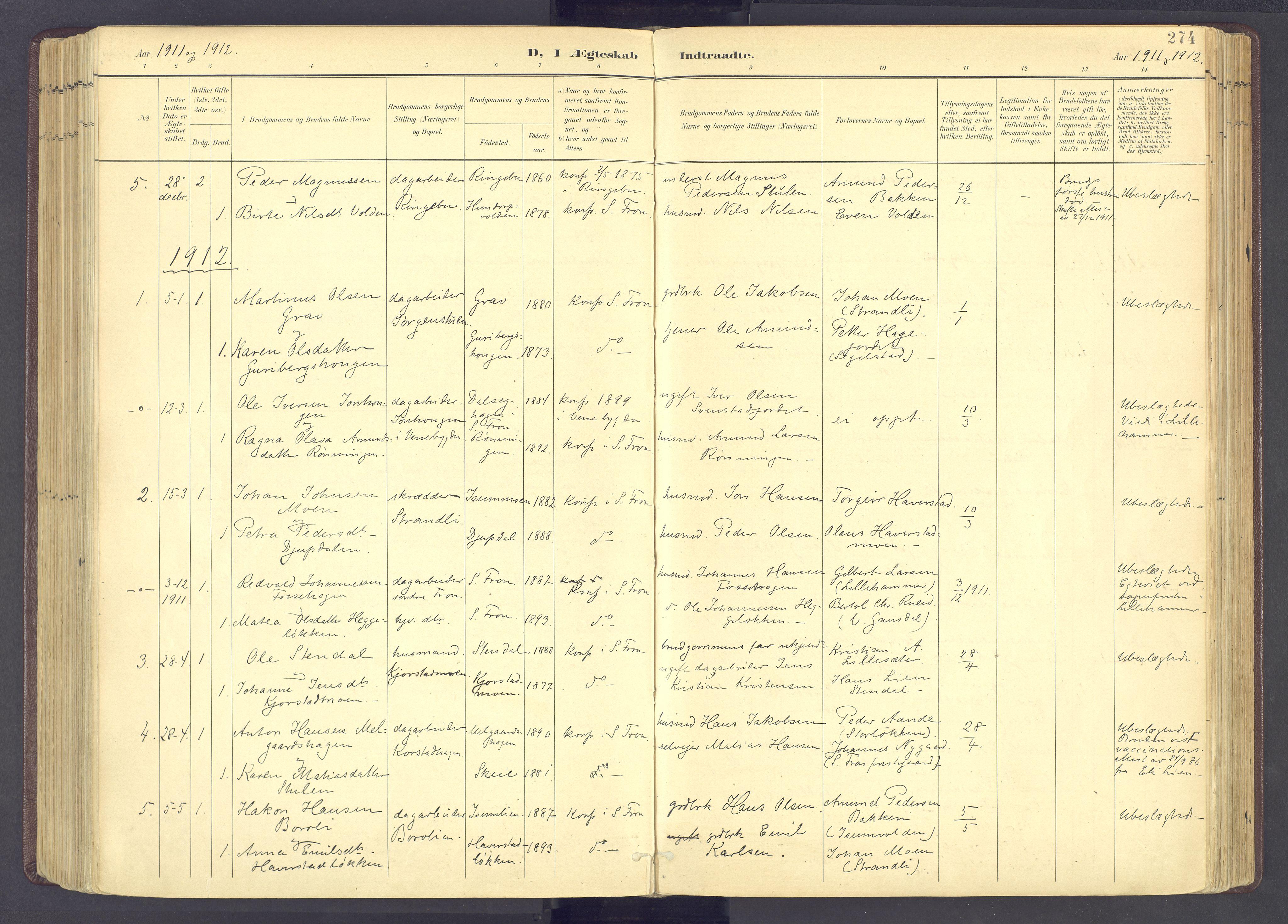 SAH, Sør-Fron prestekontor, H/Ha/Haa/L0004: Parish register (official) no. 4, 1898-1919, p. 274